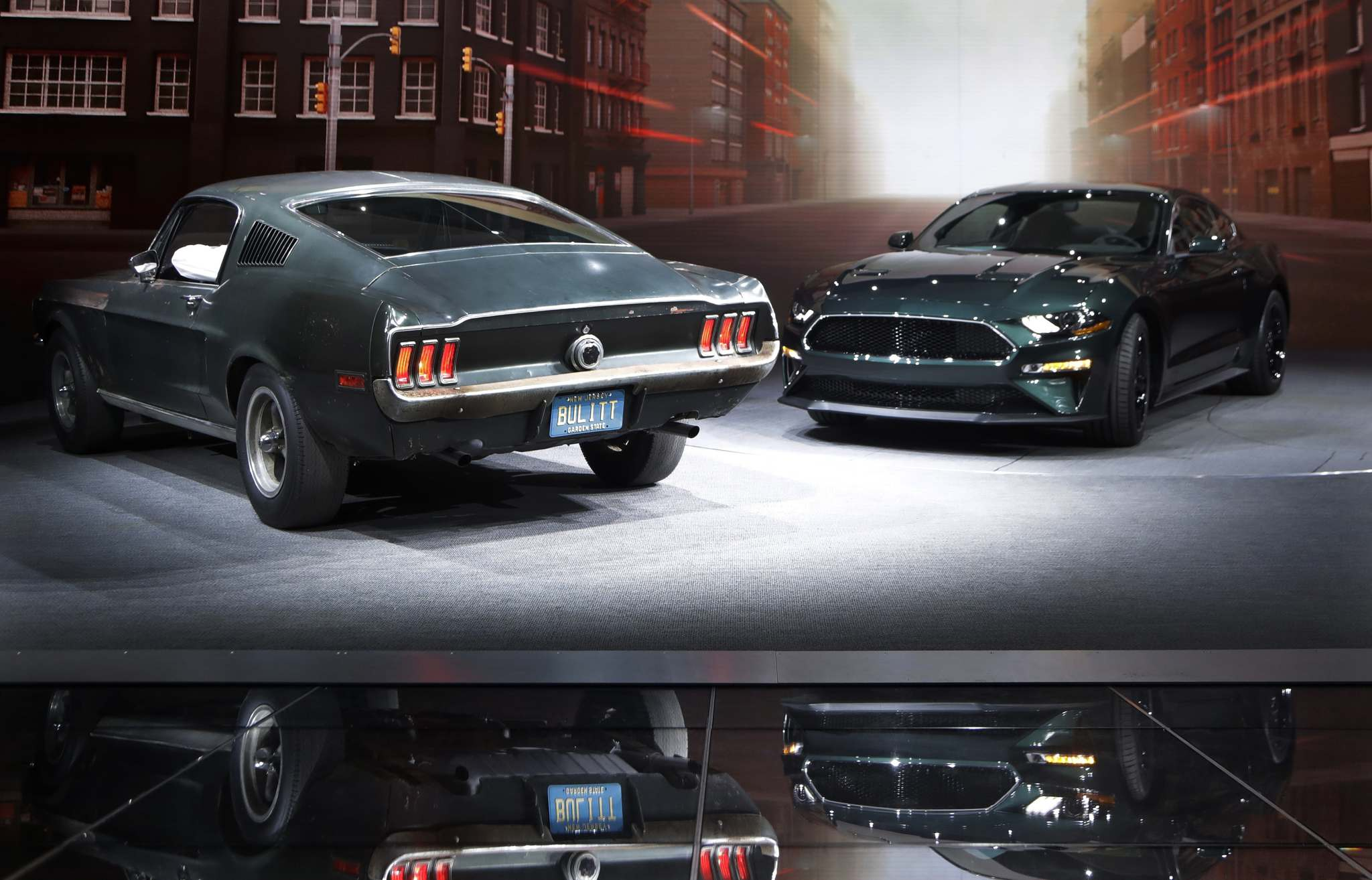 Carlos Osorio / The Associated Press filesThe new 2019 Mustang Bullitt (right) is seen next to the original at the North American International Auto Show on Jan. 14 in Detroit.