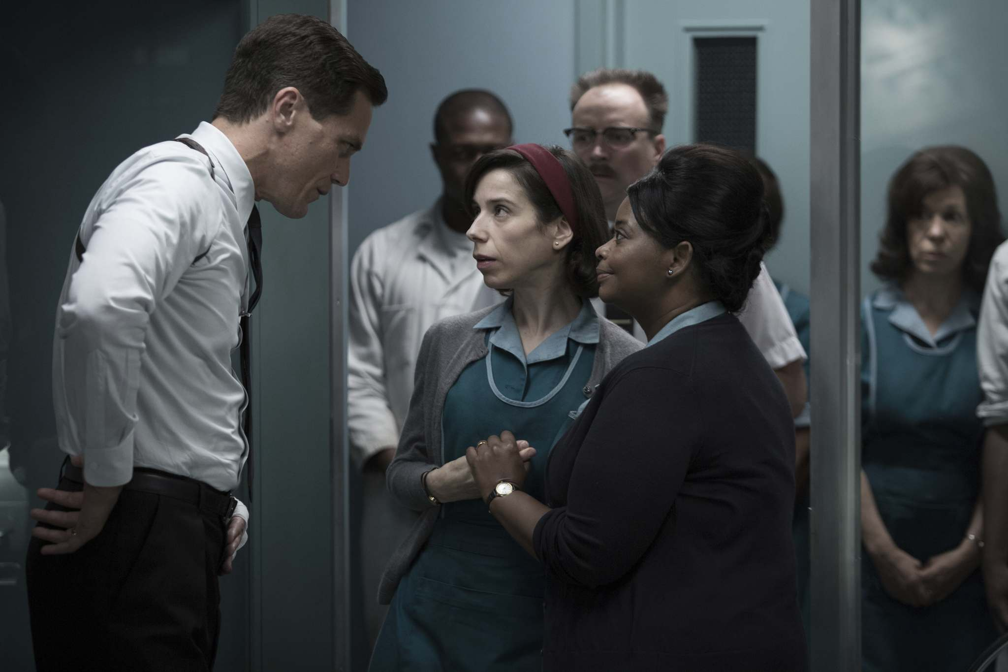Michael Shannon (from left), Sally Hawkins and Octavia Spencer in The Shape of Water, which garnered 13 nominations for the 90th annual Academy Awards. (Fox Searchlight Pictures)</p>