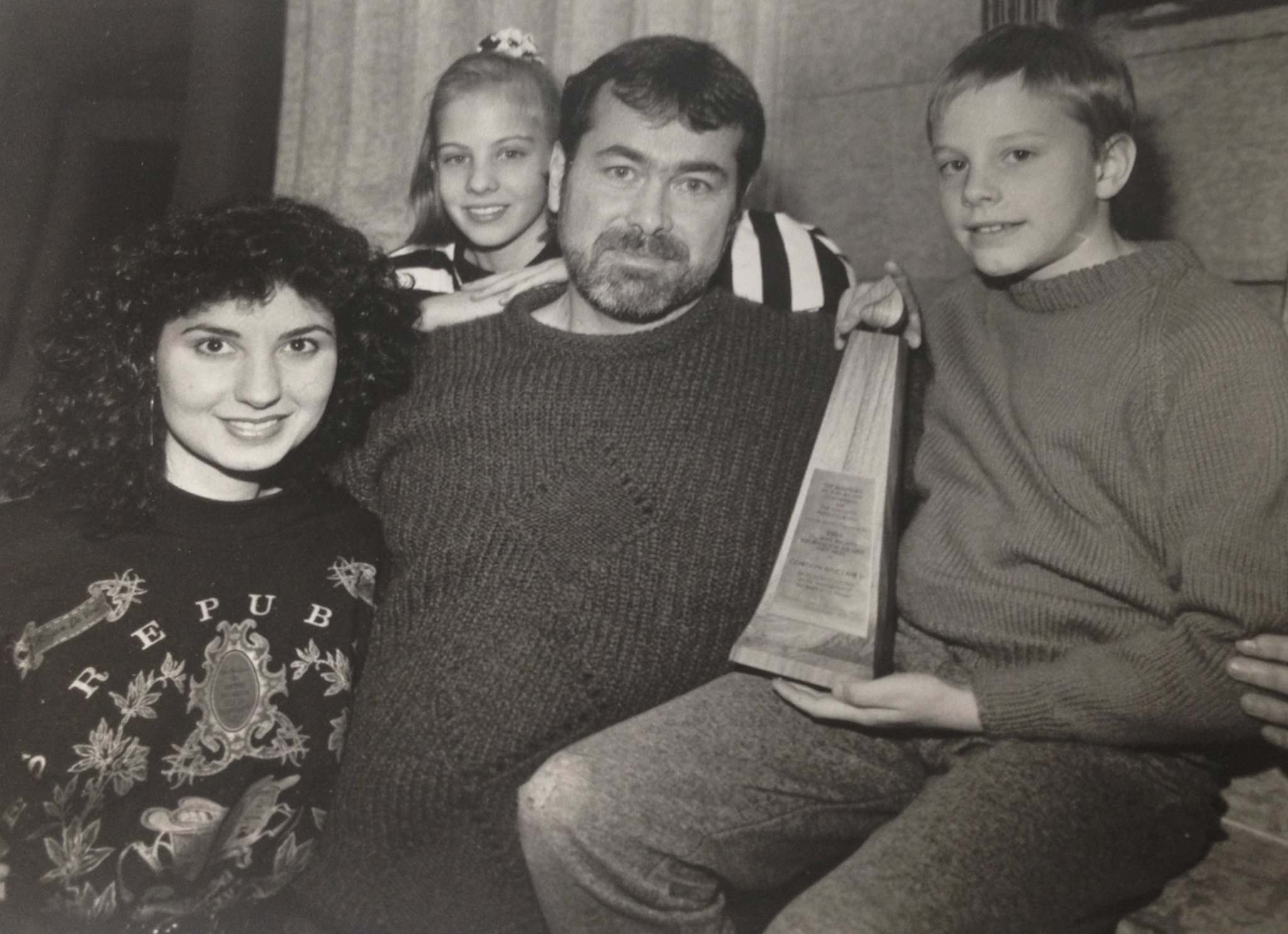 </p><p>From left: Athina Panopoulos, daughter Erin, Sinclair and son Ian at a presentation of the 1989 Manitoba Human Rights Commission and Winnipeg Press Club Human Rights Journalism Award for a series of columns on the investigation of the death of J.J. Harper.</p></p>