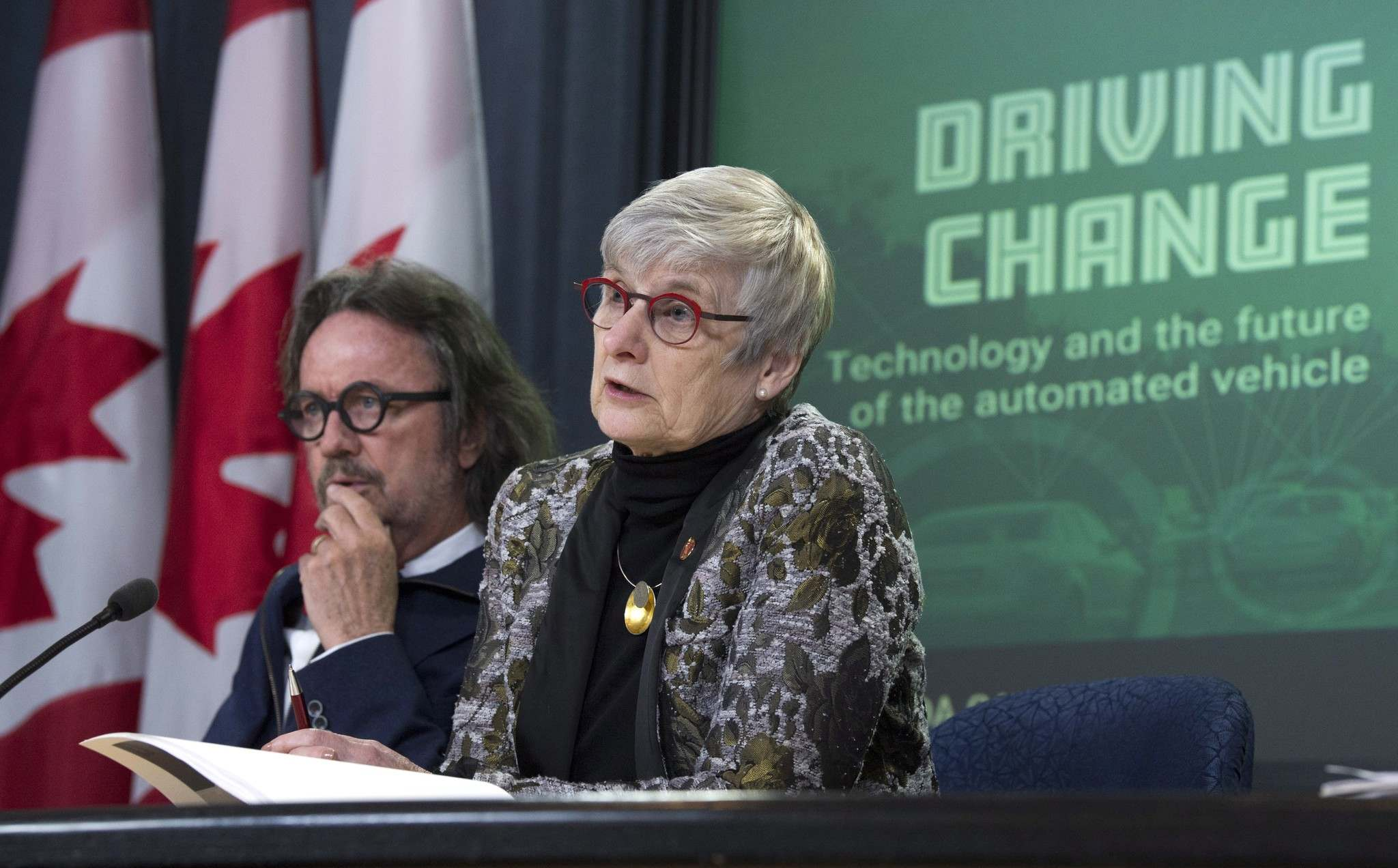 THE CANADIAN PRESS/Adrian Wyld</p><p>Senate Committee on Transport and Communications deputy chair Senator Patricia Bovey, right, during a news conference regarding connected and automated vehicles in Ottawa, Monday.</p>