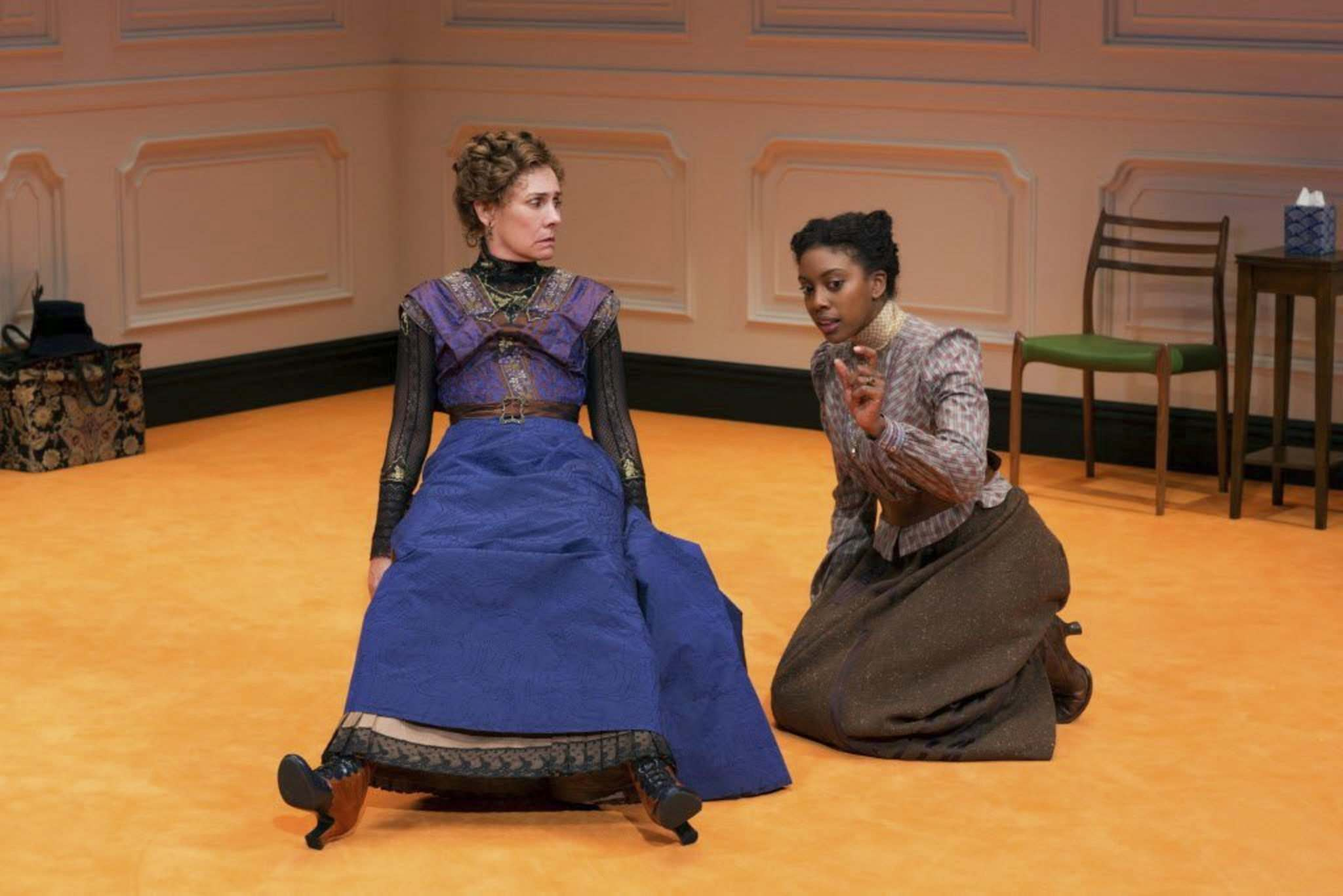 Laurie Metcalf and Condola Rashad in a scene from A Doll's House, Part 2, the sequel to Henrik Ibsen's classic drama. Both are playing at the Royal MTC in 2018-19. (Brigitte Lacombe photo)