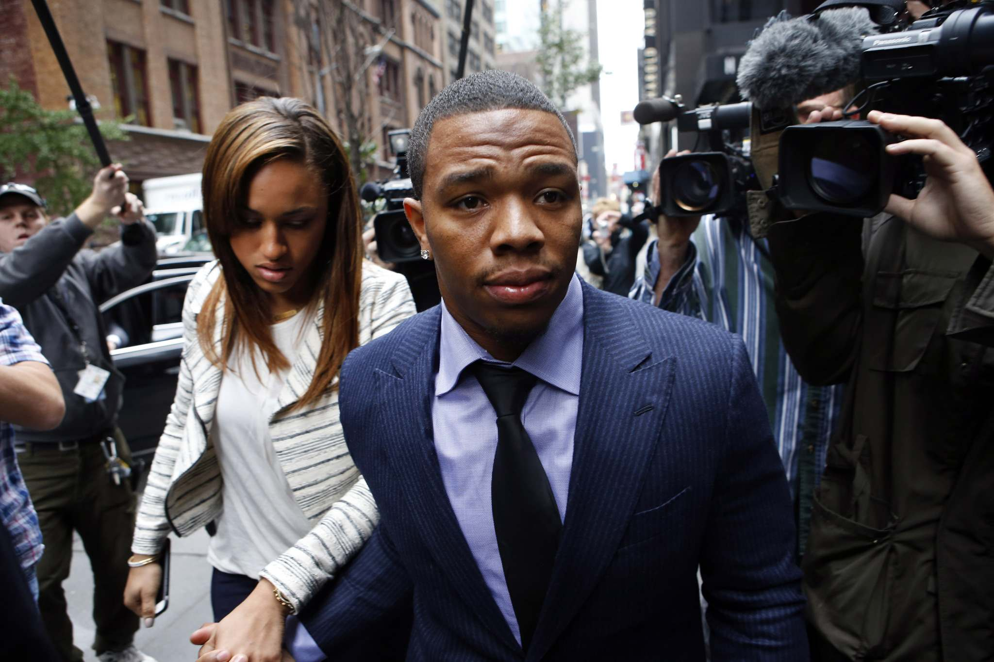 Jason DeCrow / The Associated Press Files </p><p>When Ray Rice was caught on video knocking then-girlfriend Janay Palmer unconscious, it changed the way pro football organizations viewed gender-based violence.</p></p>