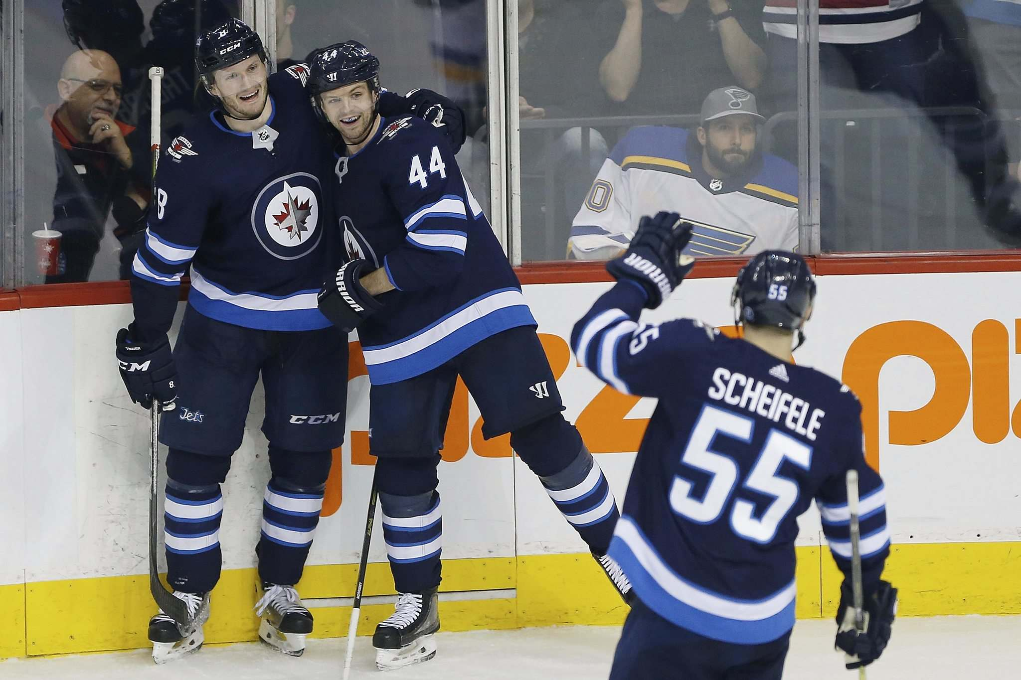 JOHN WOODS / WINNIPEG FREE PRESS FILES</p><p>Winnipeg Jets defenceman Jacob Trouba (left) will be out for six to eight weeks with a high ankle sprain leaving his blue-line partner Josh Morrissey (centre) to play with another teammate.</p>