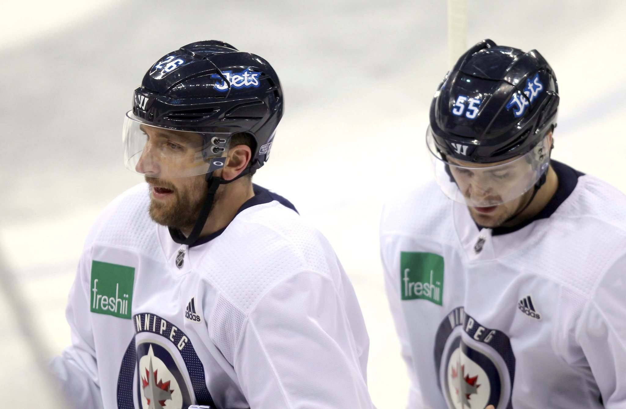 BORIS MINKEVICH / WINNIPEG FREE PRESS</p><p>Blake Wheeler and Mark Scheifele at practice today at MTS Bell Place. Mark Scheifele may return to the Winnipeg Jets lineup Friday night.</p></p>