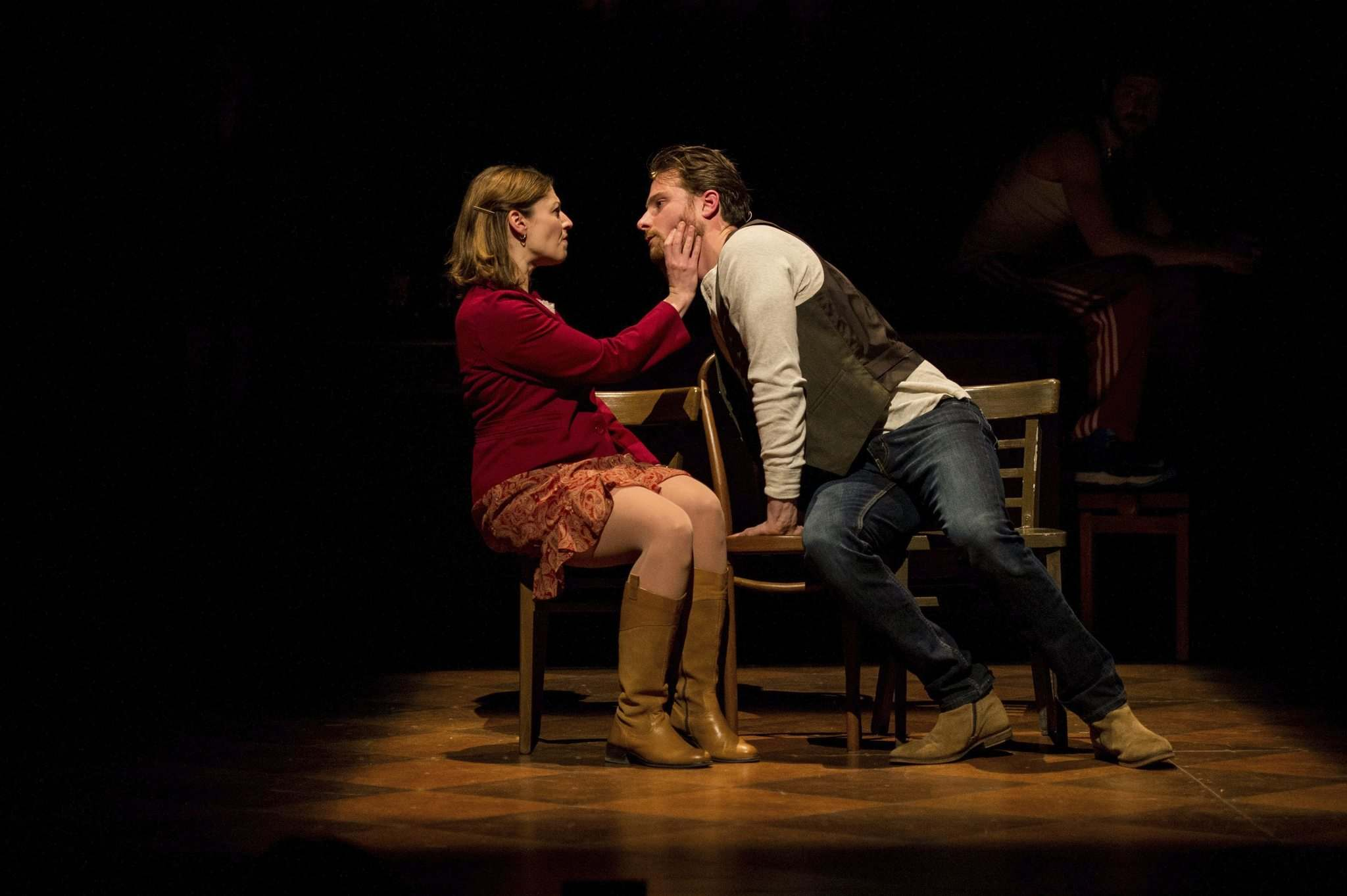 Jeremy Walmsely (right) portrays Guy, a vacuum repairman/street musician and Amanda LeBlanc plays Girl, a Czech immigrant. (Dylan Hewlett Photo)</p>