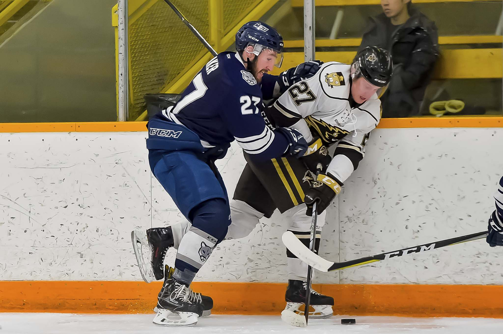 Jeff and Tara Miller For Bison Sports</p><p>University of Manitoba Bisons forward Zach Franko, right, fights for the puck along the boards, Friday.</p>
