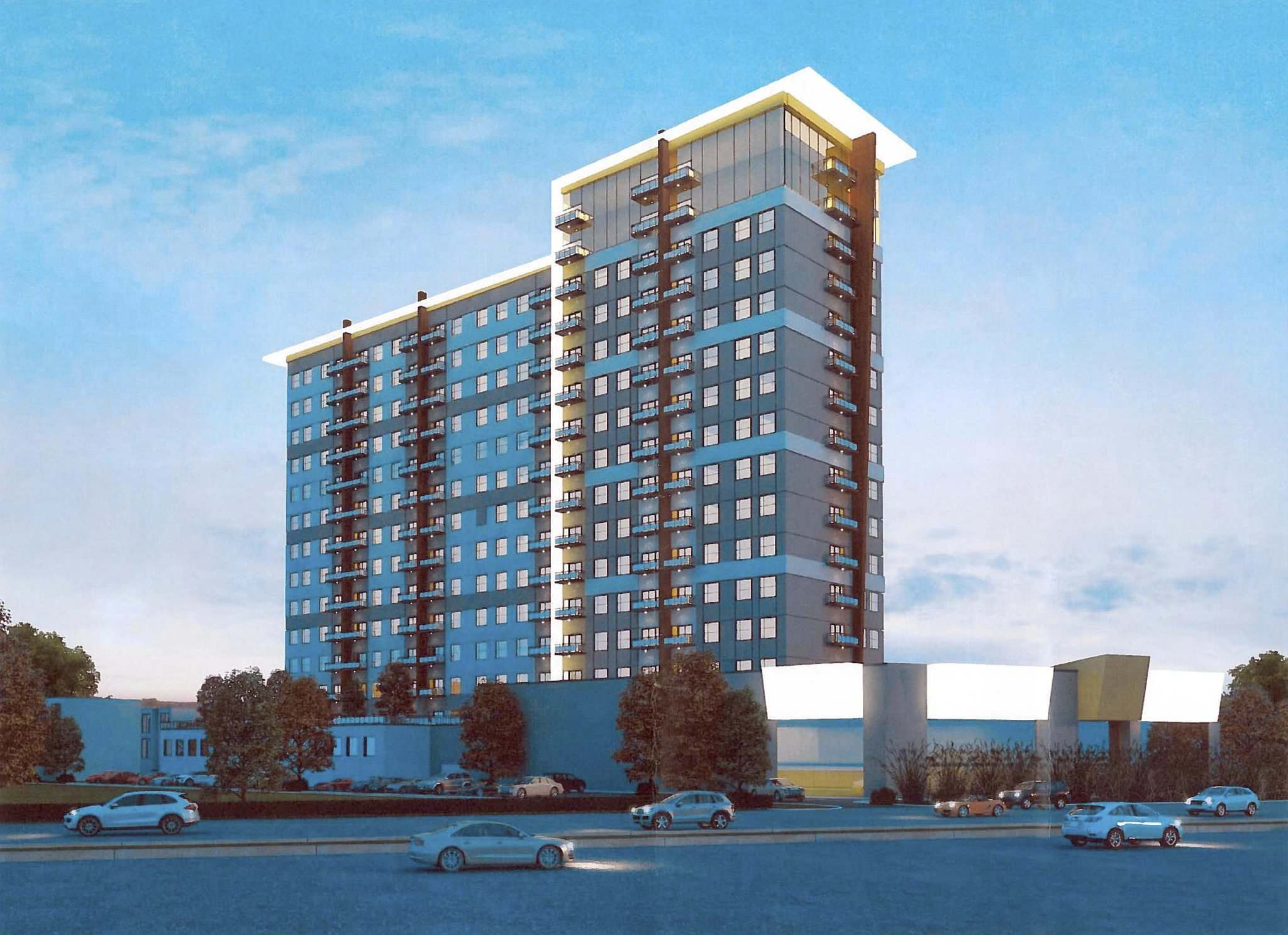 AFFINITY ARCHITECTURE</p><p>A project proposed for a large vacant lot in the 3000 block of Pembina Highway would include two apartment towers 13 and 15 storeys high, and feature a combined 410 residential units.</p></p>