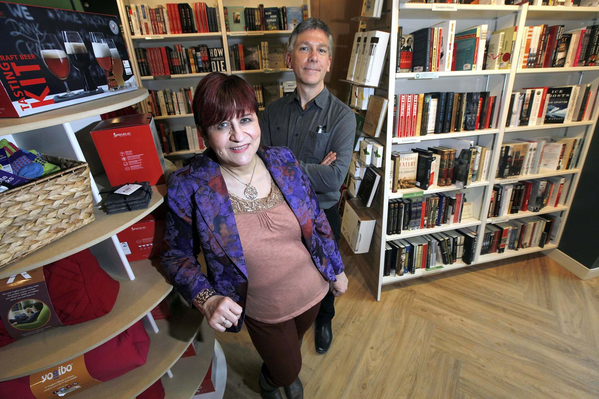 PHIL HOSSACK / WINNIPEG FREE PRESS </p><p>Lori Baker (left) and Chris Hall, who took over McNally Robinson 2½ years ago, are excited to open a second Winnipeg location.</p>
