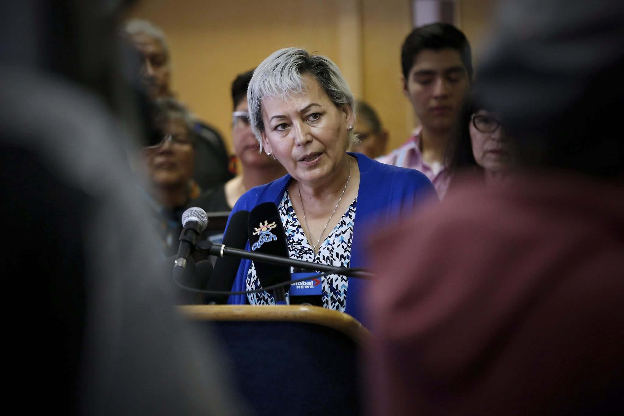 John Woods / The Canadian Press</p><p>Sandra Delaronde (MMIWG) Coalition Co-chair, speaks at a press conference calling for a re-organization of the National Inquiry into Missing and Murdered Indigenous Women and Girls in Winnipeg, Wednesday, July 12, 2017.</p>