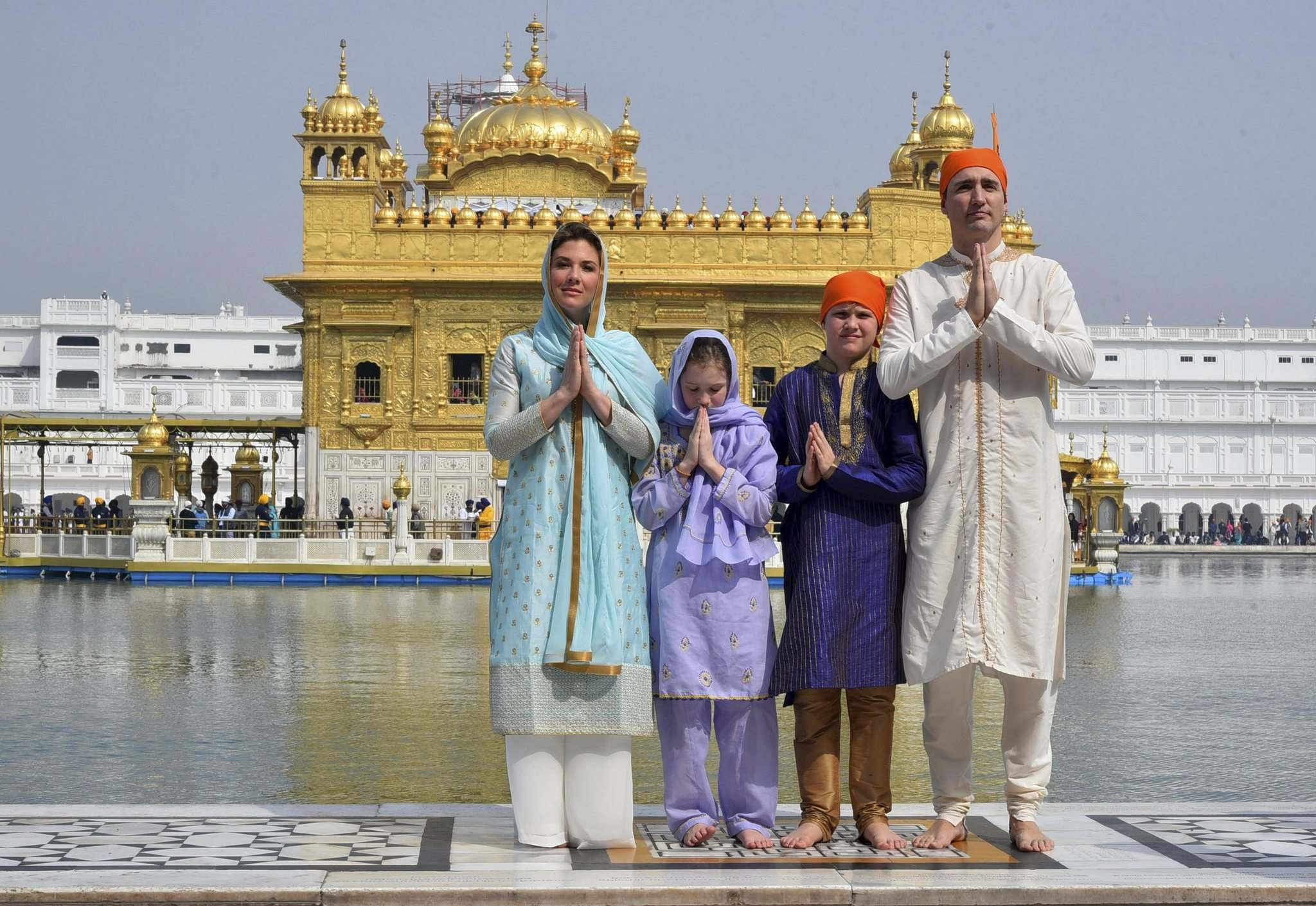 GOVERNMENT OF pUNJAB</p><p>Prime Minister Justin Trudeau, his wife Sophie Gr&#233;goire Trudeau, their daughter Ella-Grace and son Xavier dress in Indian style during their visit to Amritsar, India.</p>