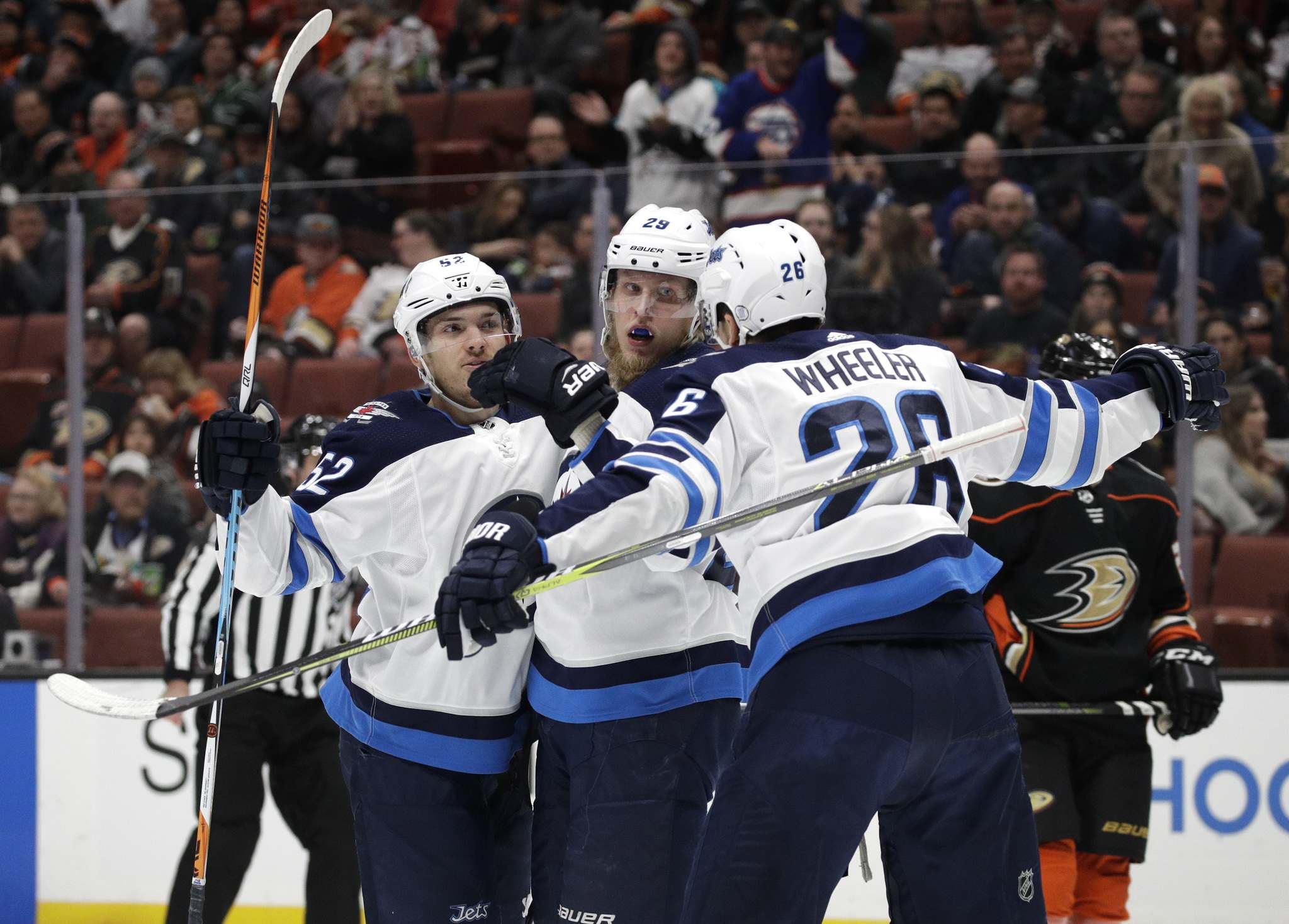 (AP Photo/Jae C. Hong)</p><p>Winnipeg Jets' Patrik Laine, centre, celebrates a goal with Blake Wheeler, right, and Jack Roslovic. The Jets have an embarrassment or riches when it comes to scoring depth in their forward core with three lines that can all be a threat to put the biscuit in the basket.</p>