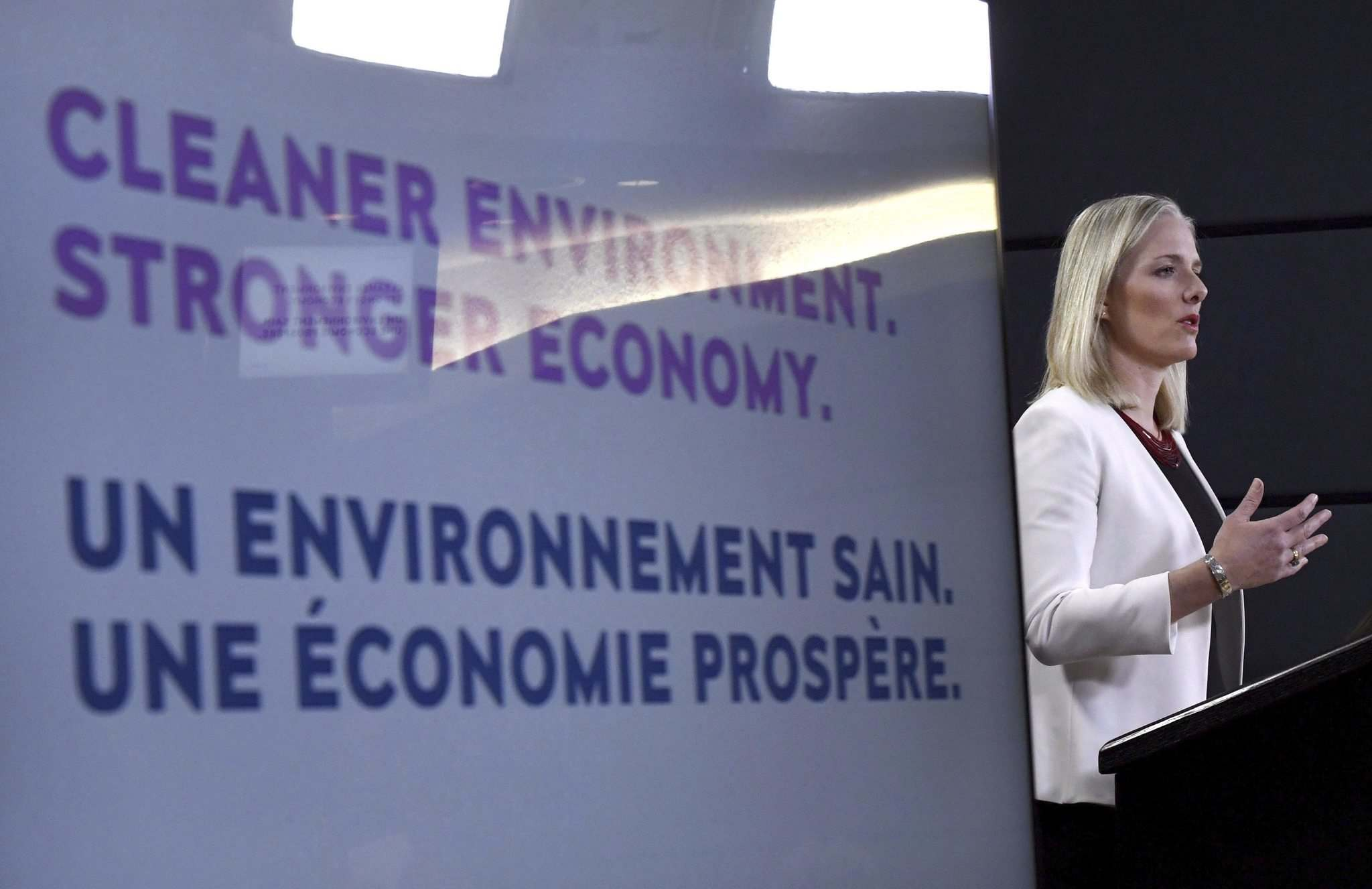 Justin Tang / The Canadian Press Files</p><p>Minister of Environment and Climate Change Catherine McKenna speaks at a press conference on the government&#39;s environmental and regulatory reviews related to major projects.</p>