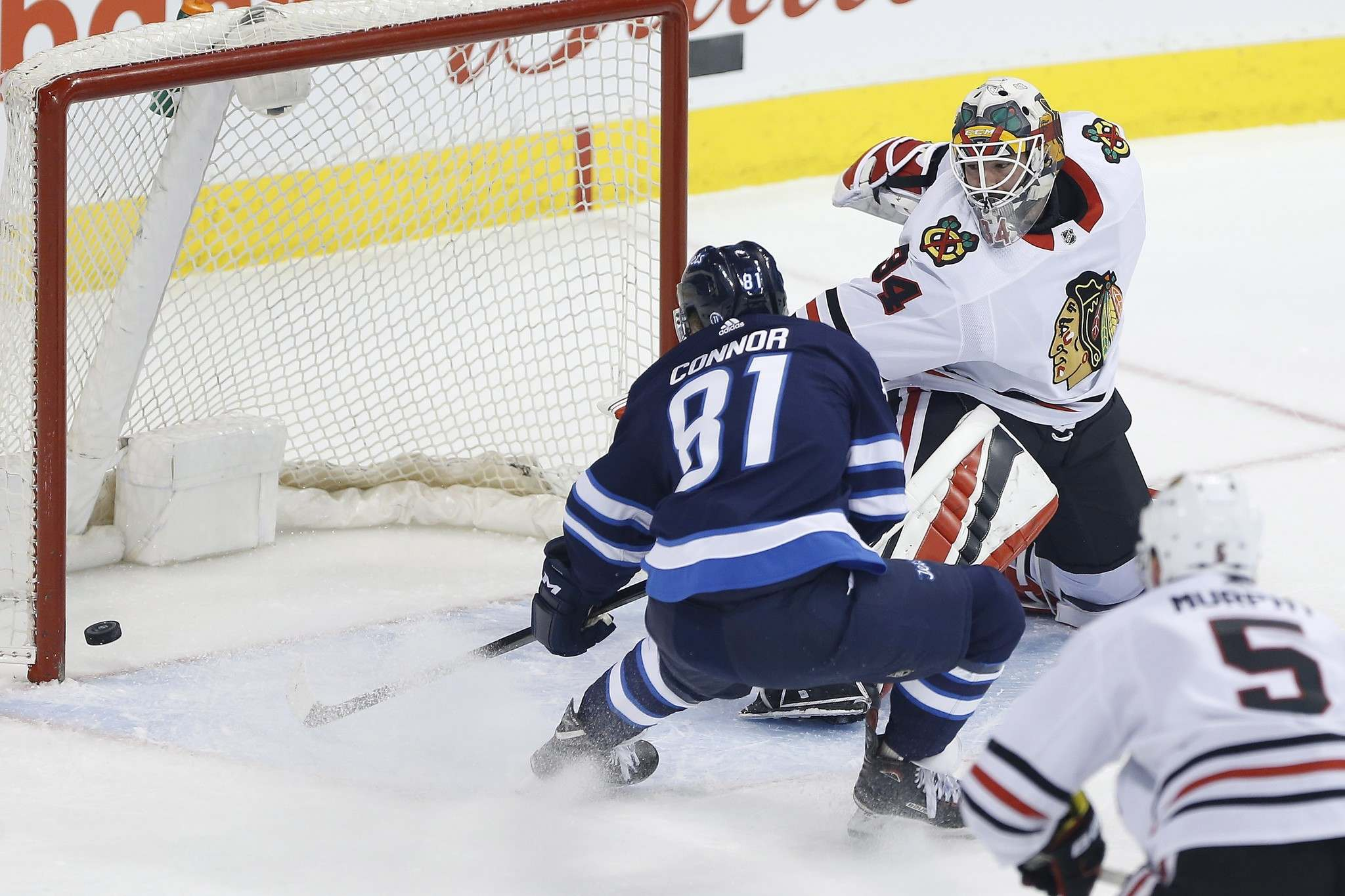 THE CANADIAN PRESS/John Woods</p><p>Winnipeg Jets left wing Kyle Connor scores his first of two goals on Chicago Blackhawks goaltender J-F Berube during first period, Thursday. Connor would later score an empty-net goal in the third period for his secong of the evening.</p>