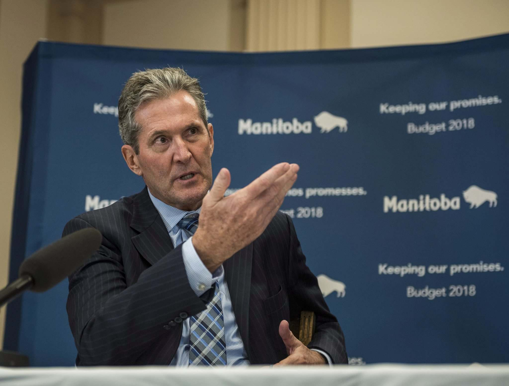 David Lipnowski / The Canadian Press Files</p><p>Manitoba Premier Brian Pallister speaks about the 2018 budget at the Manitoba Legislature.</p>