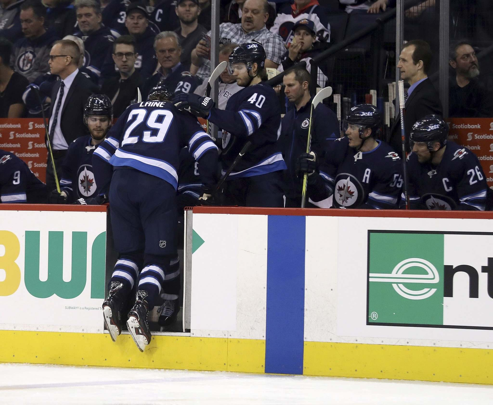 Winnipeg Jets' Patrik Laine leaves game with lower-body injury