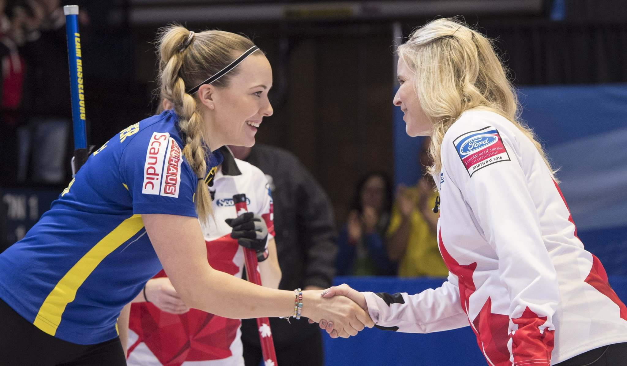 Paul Chiasson / The Canadian Press</p><p>Jennifer Jones shakes hands with Sweden second Agnes Knochenhauer following Canada&rsquo;s victory on Wednesday in North Bay, Ont. Canada faces Russia and Italy today, and Japan and the U.S. on Friday to close out the round robin.</p></p>
