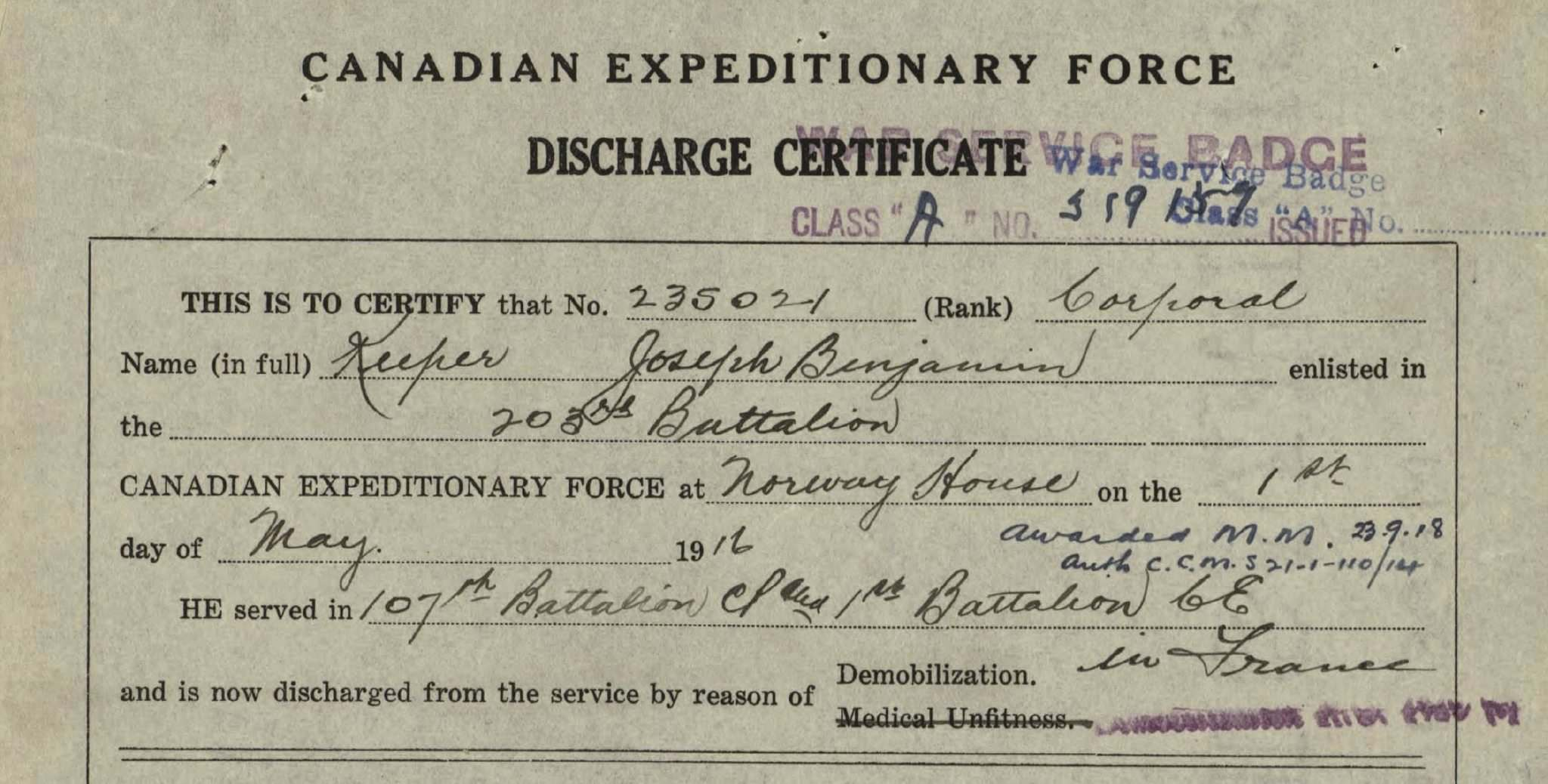LIBRARY AND ARCHIVES CANADA</p><p>Joe Keeper&#39;s First World War discharge certificate. He was discharged with the rank of Corporal, having received the Military Medal for acts of bravery during the Battle of Cambrai in Northern France, September 1918.</p>