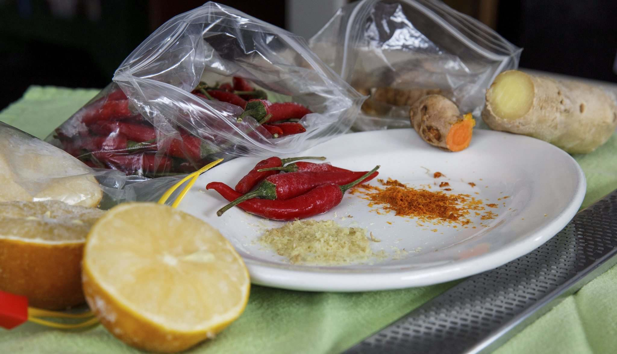 <p>Frozen lemons, chilli peppers, turmeric and ginger add some zip to meals and cocktails.</p>