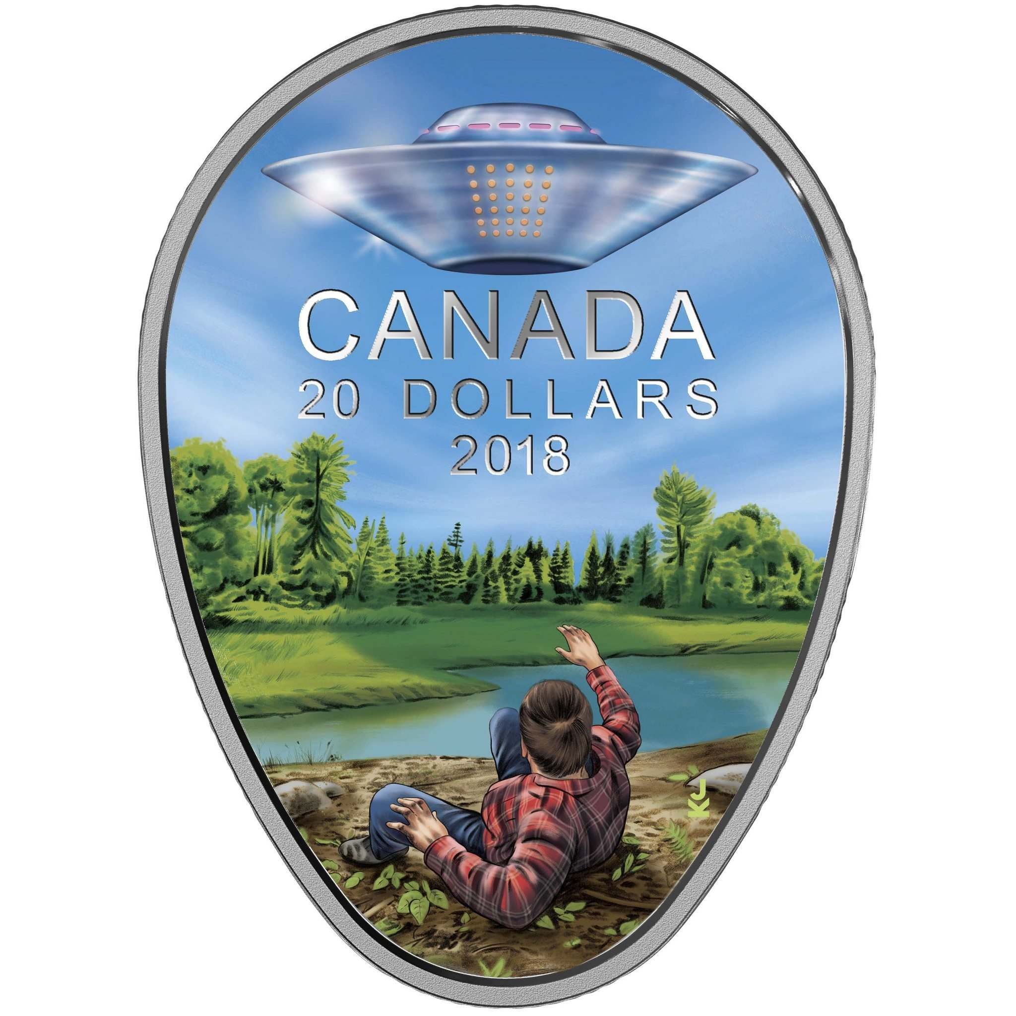 SUPPLIED</p><p>The Royal Canadian Mint is releasing a limited edition coin on April 3 to commemorate the Falcon Lake Encounter where amateur prospector Stefan Michalak saw an unknown flying saucer in the Whiteshell Provincial Park in 1967.The coin has the Queen on one side and a depiction of Michalak and the saucer on the other. The coin itself is oval shaped and is sold with a special blacklight flashlight which makes the saucer and a burst of light glow. </p>