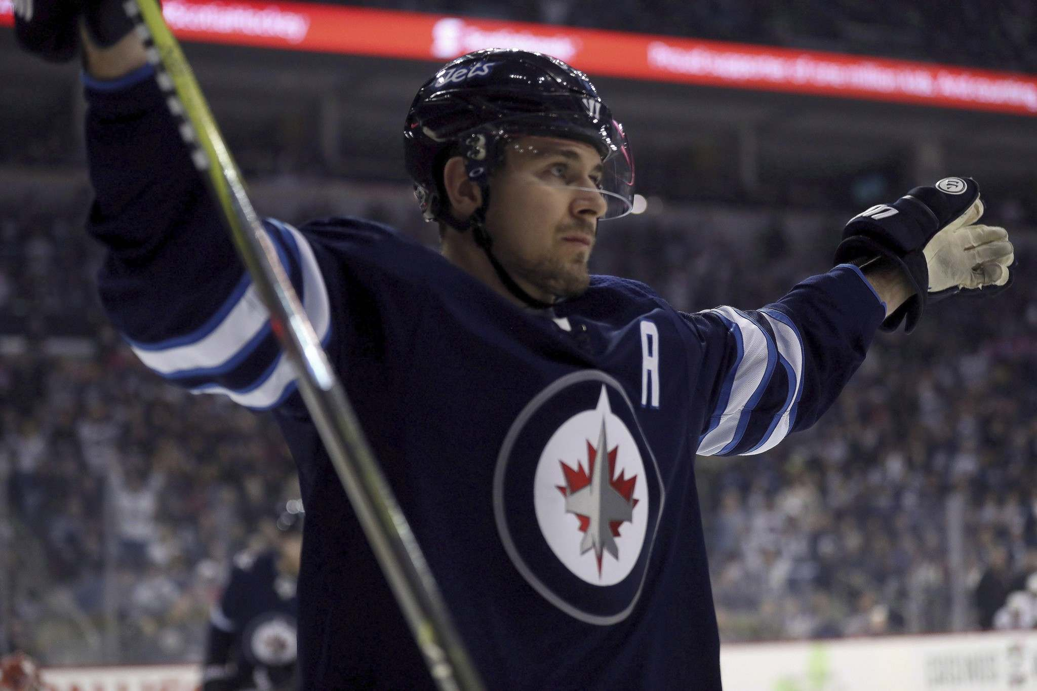 <p>Winnipeg Jets' Mark Scheifele celebrates scoring against the Ottawa Senators.</p>