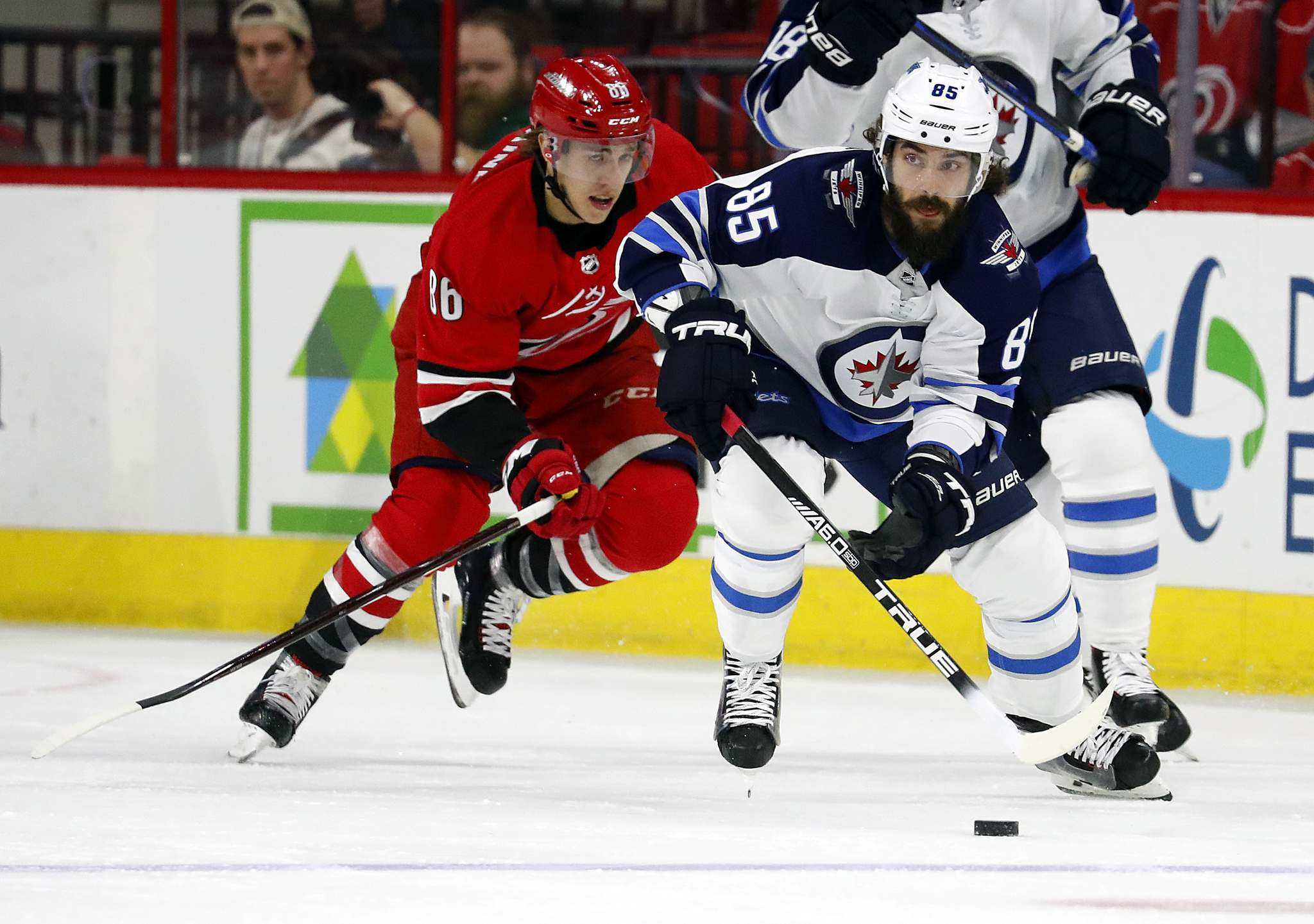AP Photo/Karl B DeBlaker</p><p>Winnipeg Jets&#39; Mathieu Perreault, right, plays against the Carolina Hurricanes. Perreault is relishing the opportunity for a fresh start during the playoffs.</p>