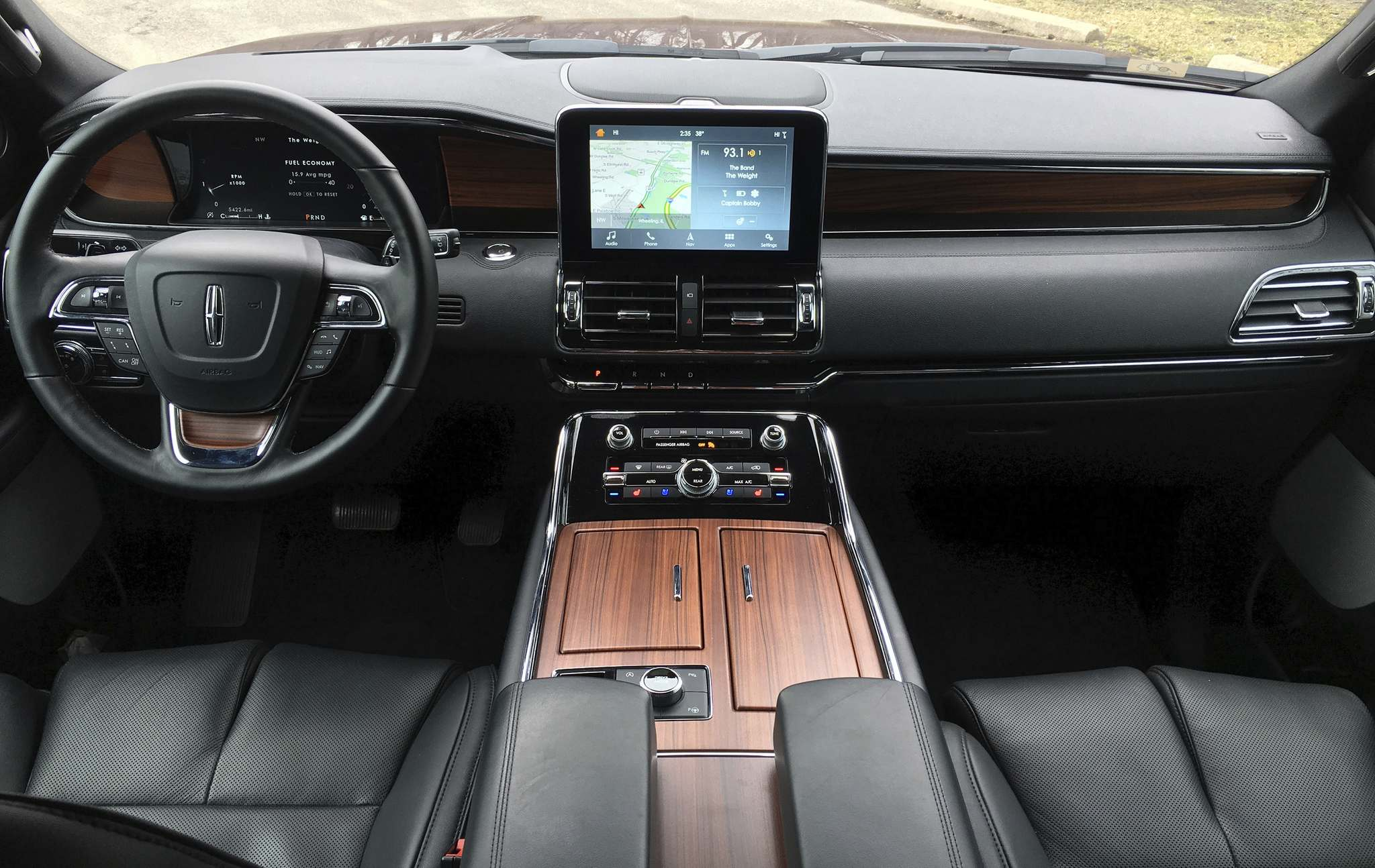 Robert Duffer / TNSLeather, wood and chrome accents set the interior of the 2018 Navigator far apart from its Ford Expedition cousin.