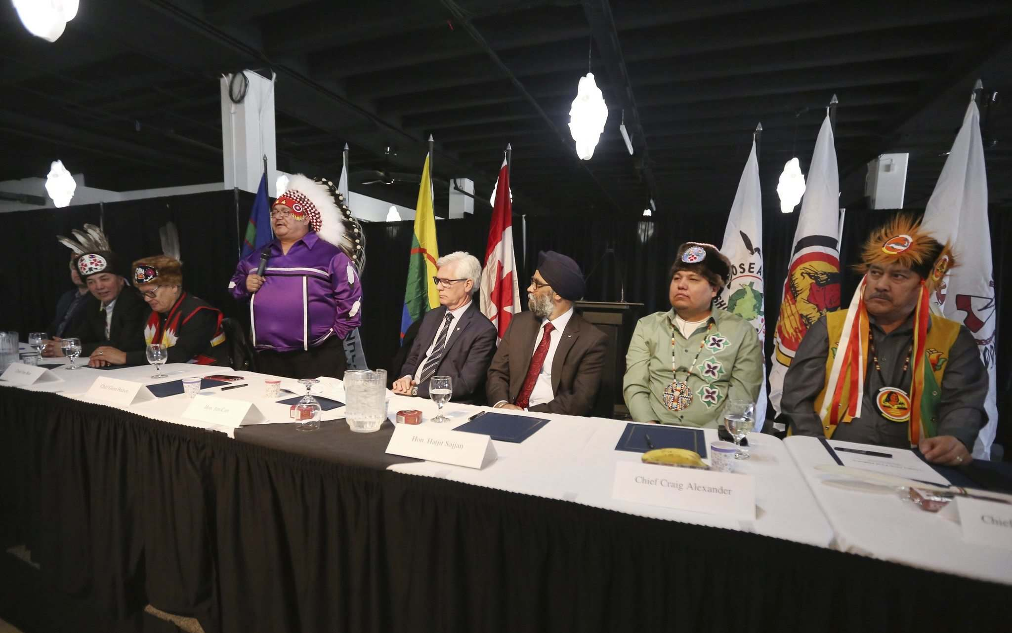 TREVOR HAGAN / WINNIPEG FREE PRESS</p><p>Chief Glenn Hudson speaks during the Kapyong announcement at the Assiniboia Downs on Tuesday.</p>