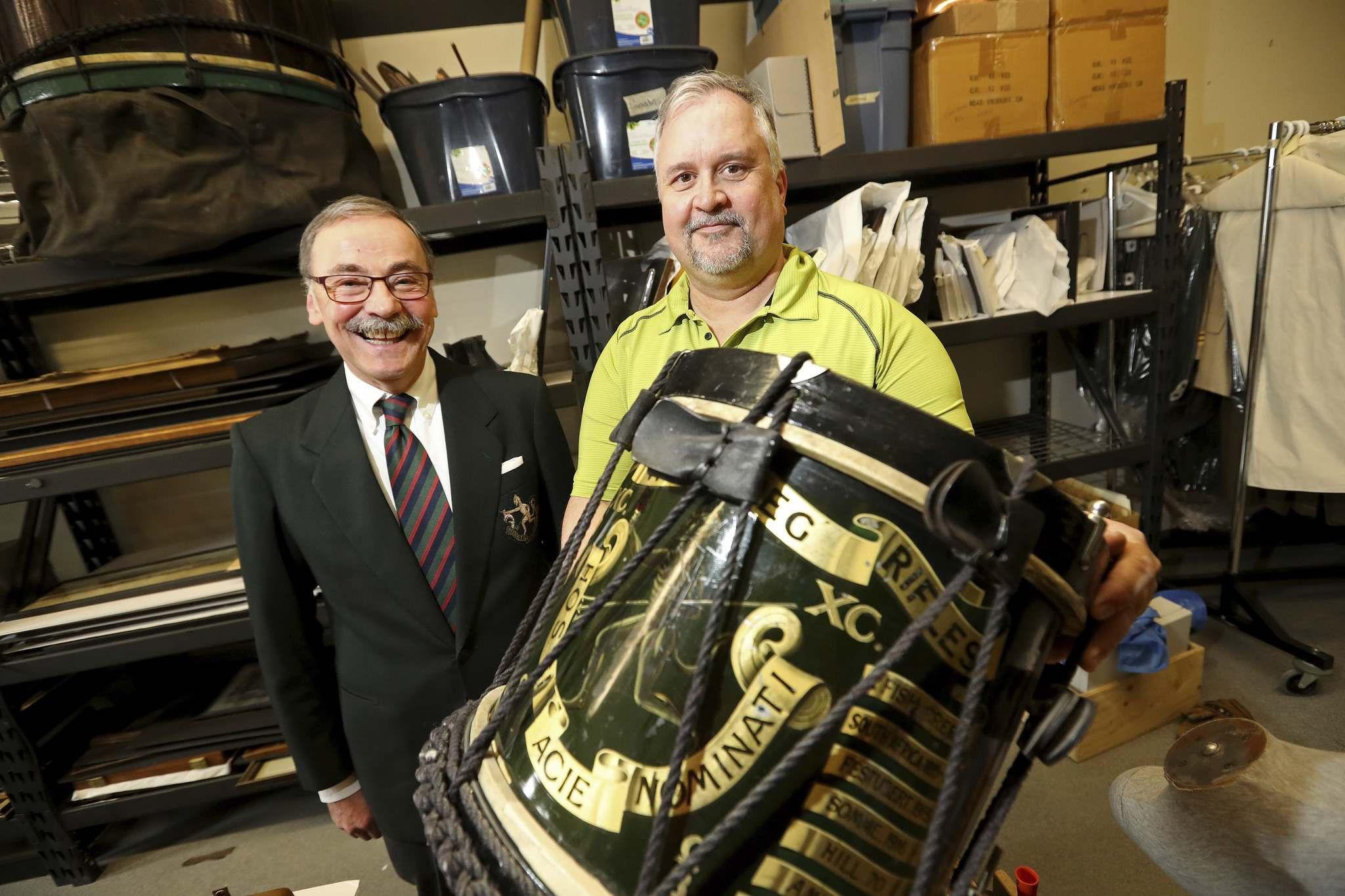 TREVOR HAGAN / WINNIPEG FREE PRESS</p><p>Retired Lt.-Col. John Robins (left) and Royal Winnipeg Rifle Museum manager Ron Burch dig through the archives.</p>