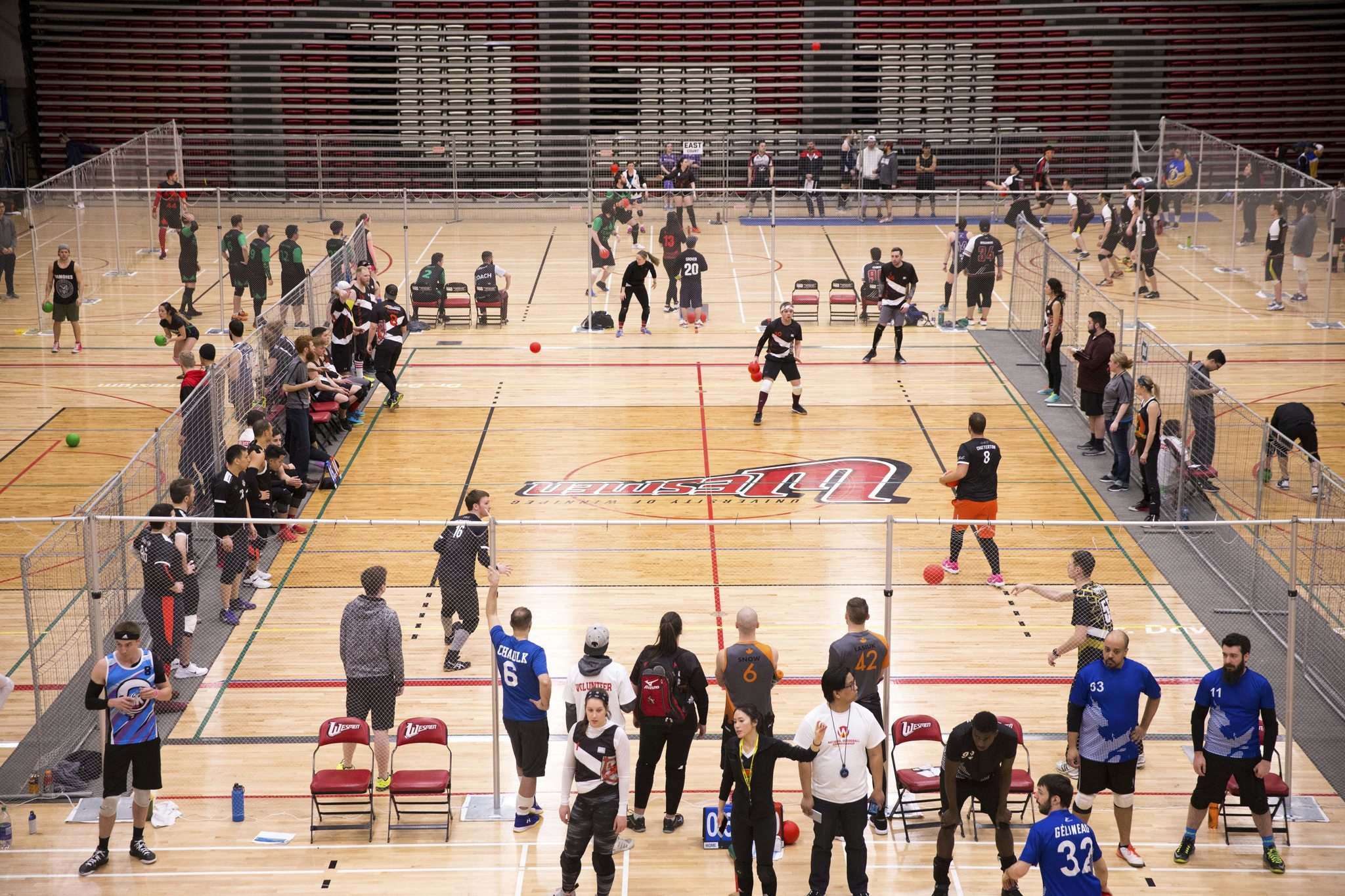 MIKAELA MACKENZIE / WINNIPEG FREE PRESS</p><p>Patricipants face each other on the court, while others watch or take part in drills during the National Dodgeball Tryout and Tournament at the Duckworth Centre Friday.</p>
