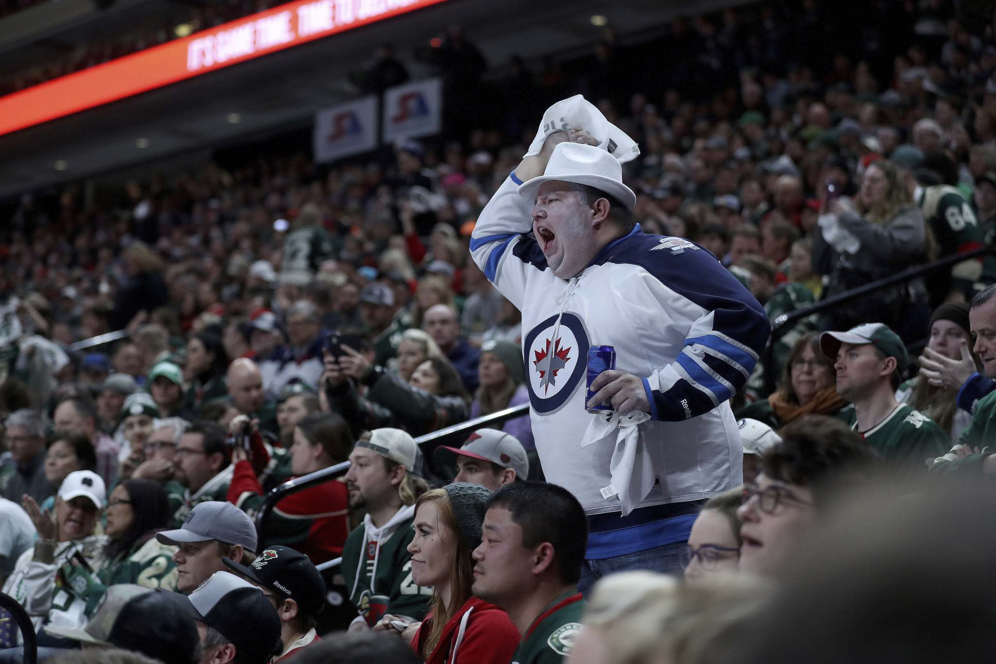 TREVOR HAGAN / WINNIPEG FREE PRESS</p><p>A Winnipeg Jets&#39; fan yells during first period NHL playoff hockey action against the Minnesota Wild at the Xcel Energy Center in St.Paul, Minnesota, Sunday, April 14, 2018.</p>