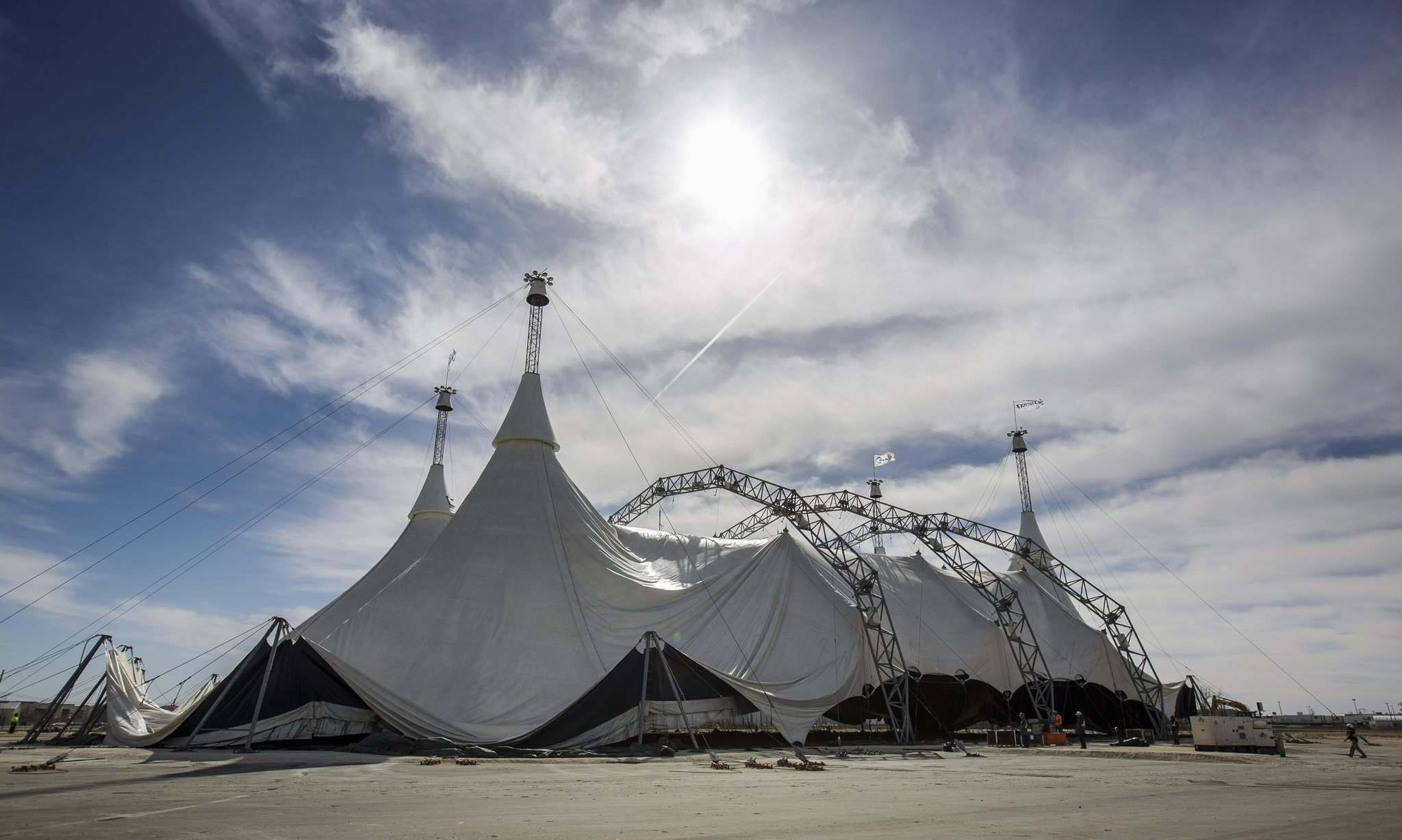 The White Big Top at the Cavalia Odysseo site Tuesday morning.
