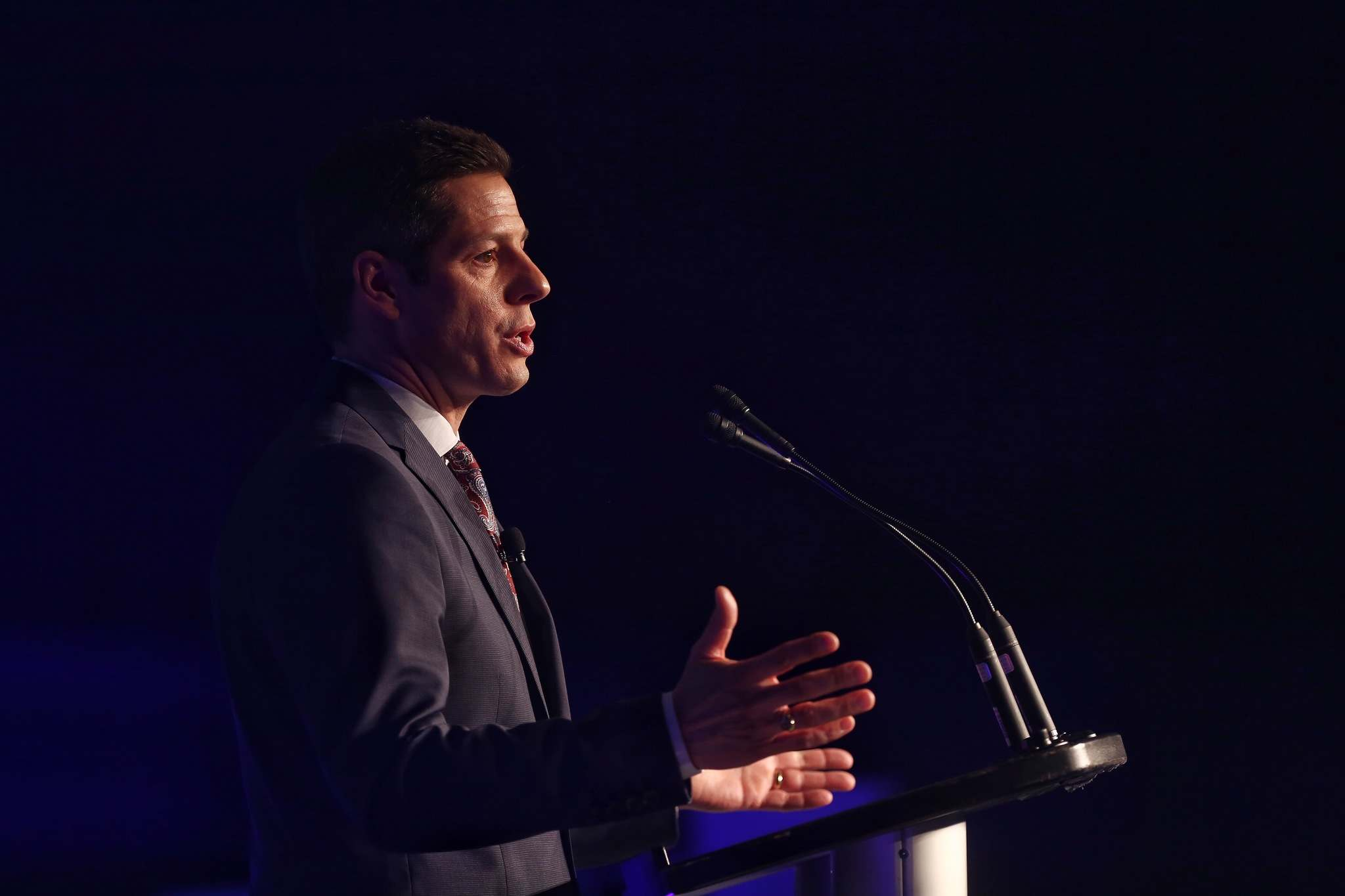 MIKE DEAL / WINNIPEG FREE PRESS</p><p>Mayor Brian Bowman his State of the City luncheon on Friday, March 23, 2018.</p>