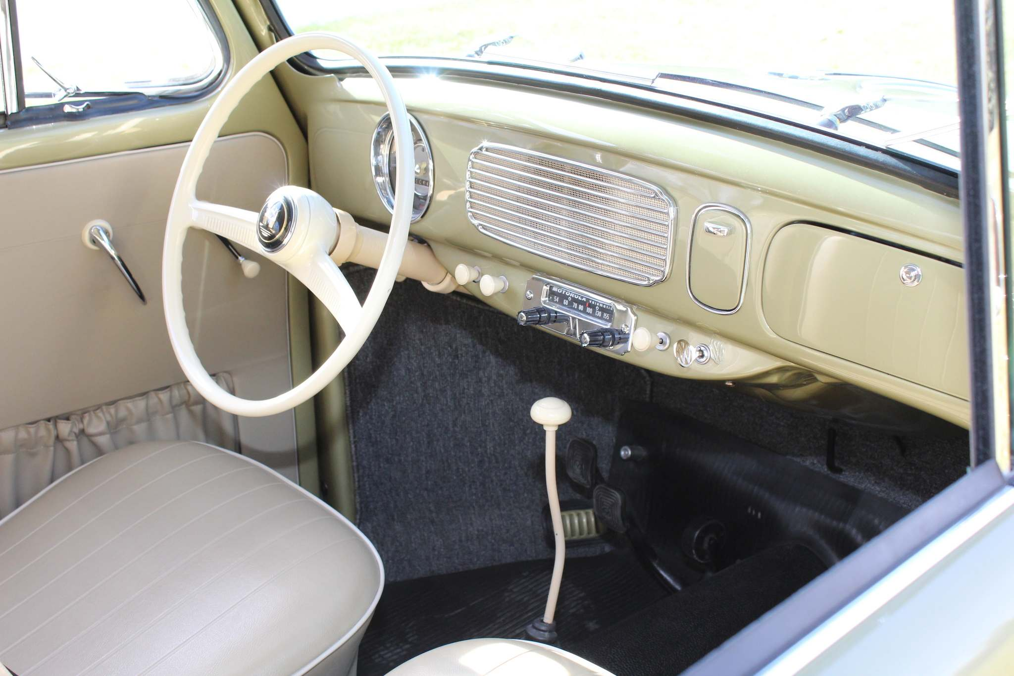 The interior of Richard and Joanne Gregoire's 1957 Beetle features upholstery from California.