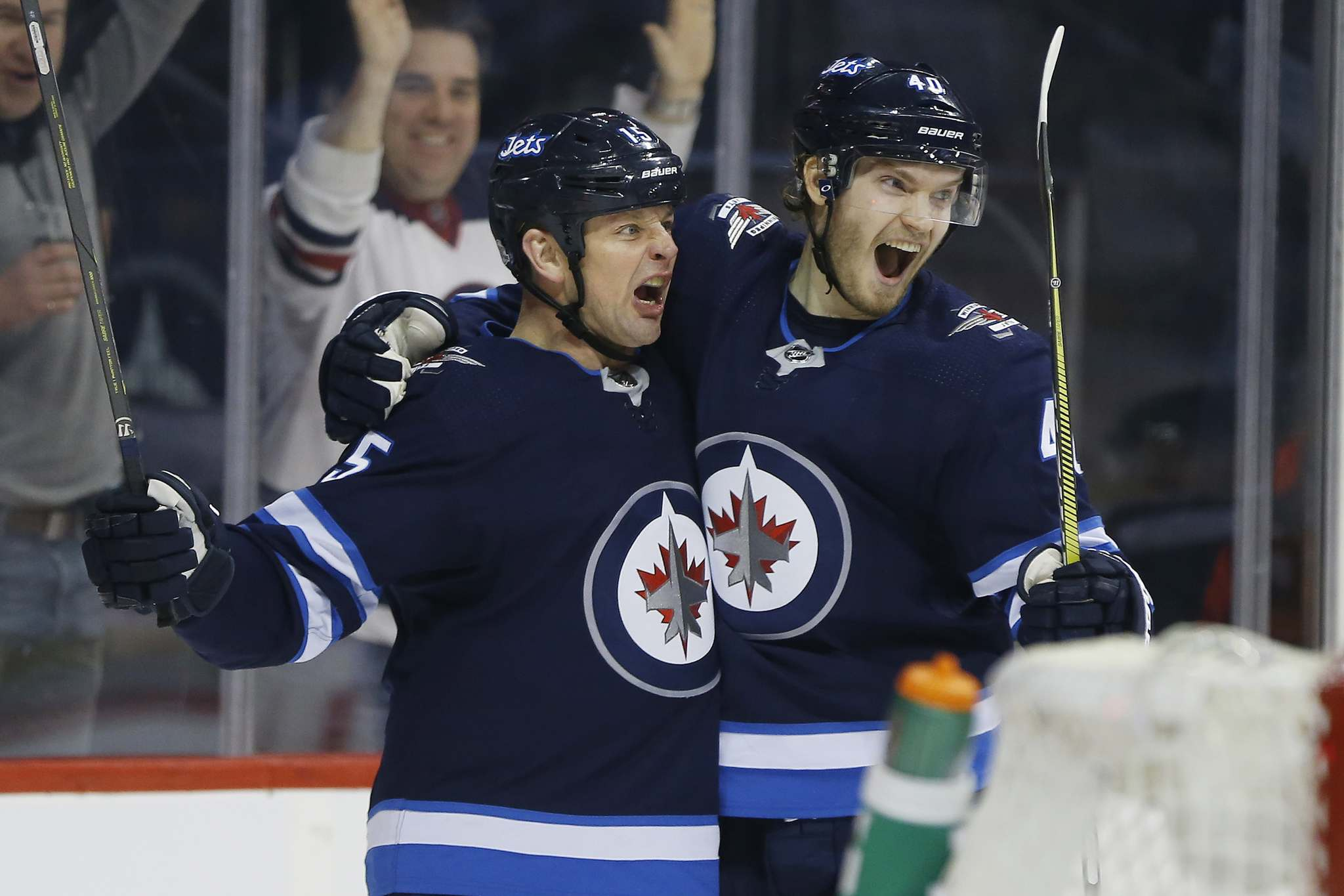 JOHN WOODS / WINNIPEG FREE PRESS</p><p>Winnipeg Jets' Matt Hendricks celebrates a goal with Joel Armia in February. Hendricks was in the lineup Friday for the first time in several weeks due to an undisclosed illness to left winger Nikolaj Ehlers.</p>