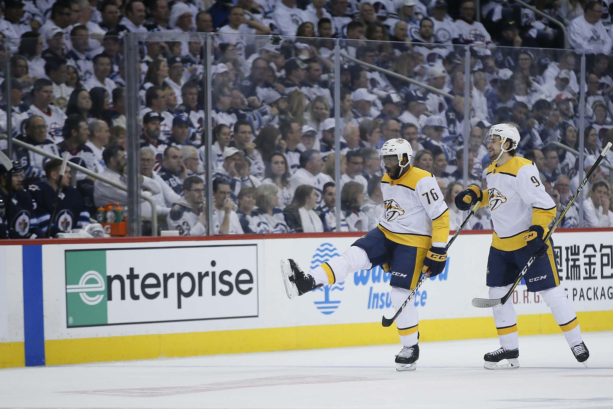 John Woods / Winnipeg Free Press</p><p>Nashville Predators' P.K. Subban and Filip Forsberg celebrate Subban's goal against the Jets in the first period of playoff action in Winnipeg, Tuesday.</p>