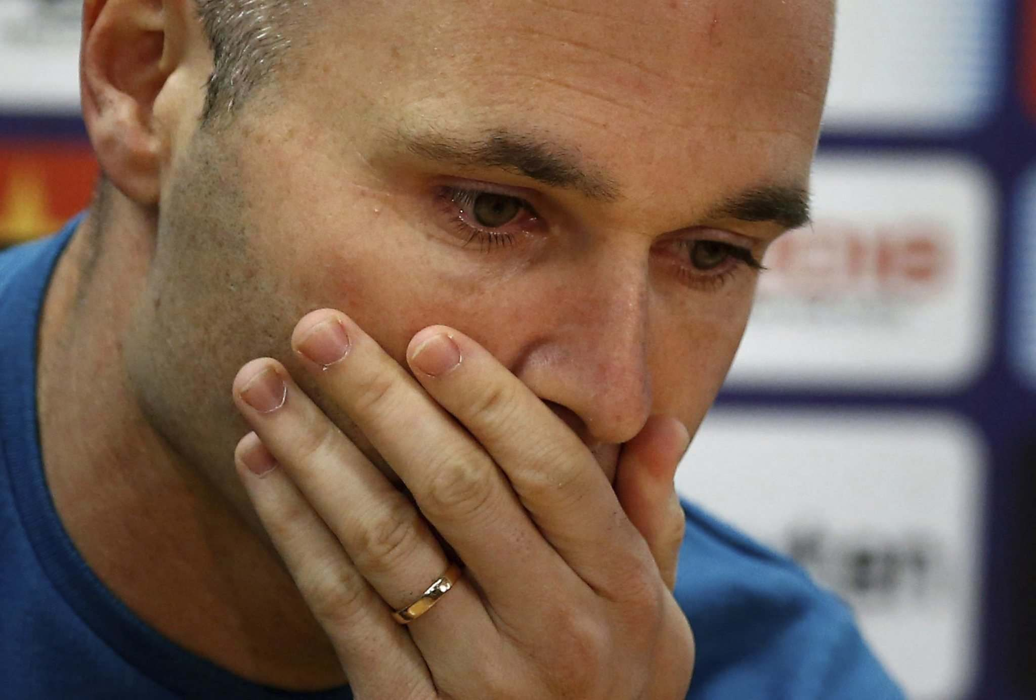 Manu Fernandez  The Associated PressF.C. Barcelona player Andres Iniesta reacts during a news conference announcing he is leaving the club in Barcelona Spain Friday April. 27 2018. Andres Iniesta says that he will leave Barcelona this summer after 1