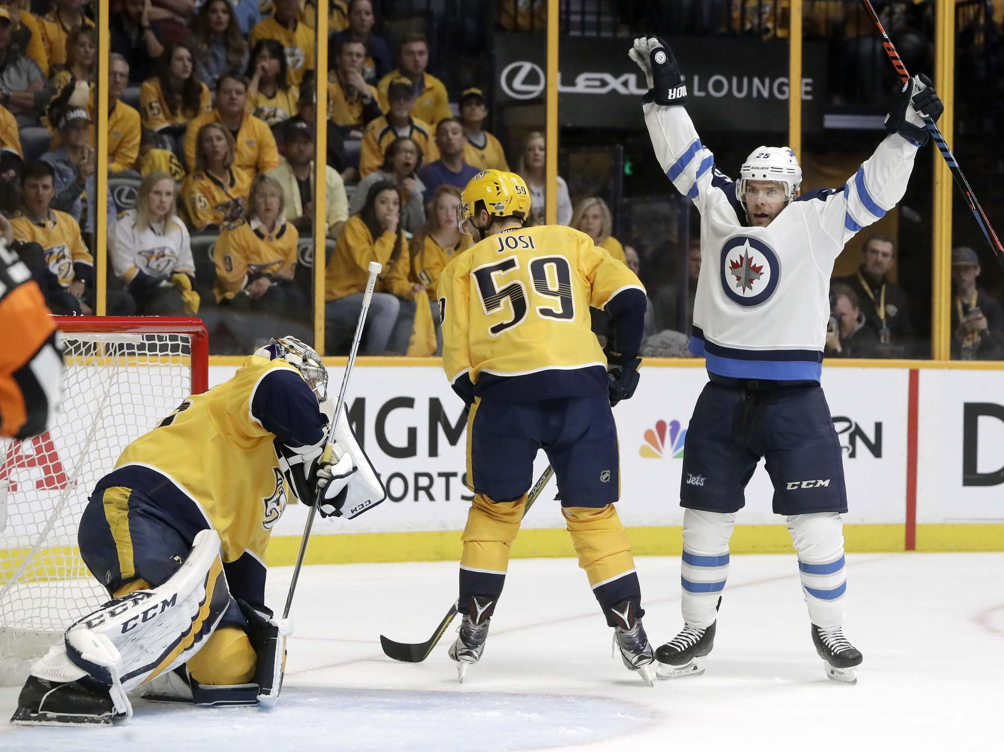 (AP Photo/Mark Humphrey)</p><p>Winnipeg Jets center Paul Stastny, right, celebrates after teammate Tyler Myers, not shown, scored a goal against Nashville Predators goalie Pekka Rinne, left, of Finland, during the first period in Game 7 of an NHL hockey second-round playoff series Thursday, May 10, 2018, in Nashville, Tenn. Also defending for the Predators is Roman Josi (59), of Switzerland. </p>