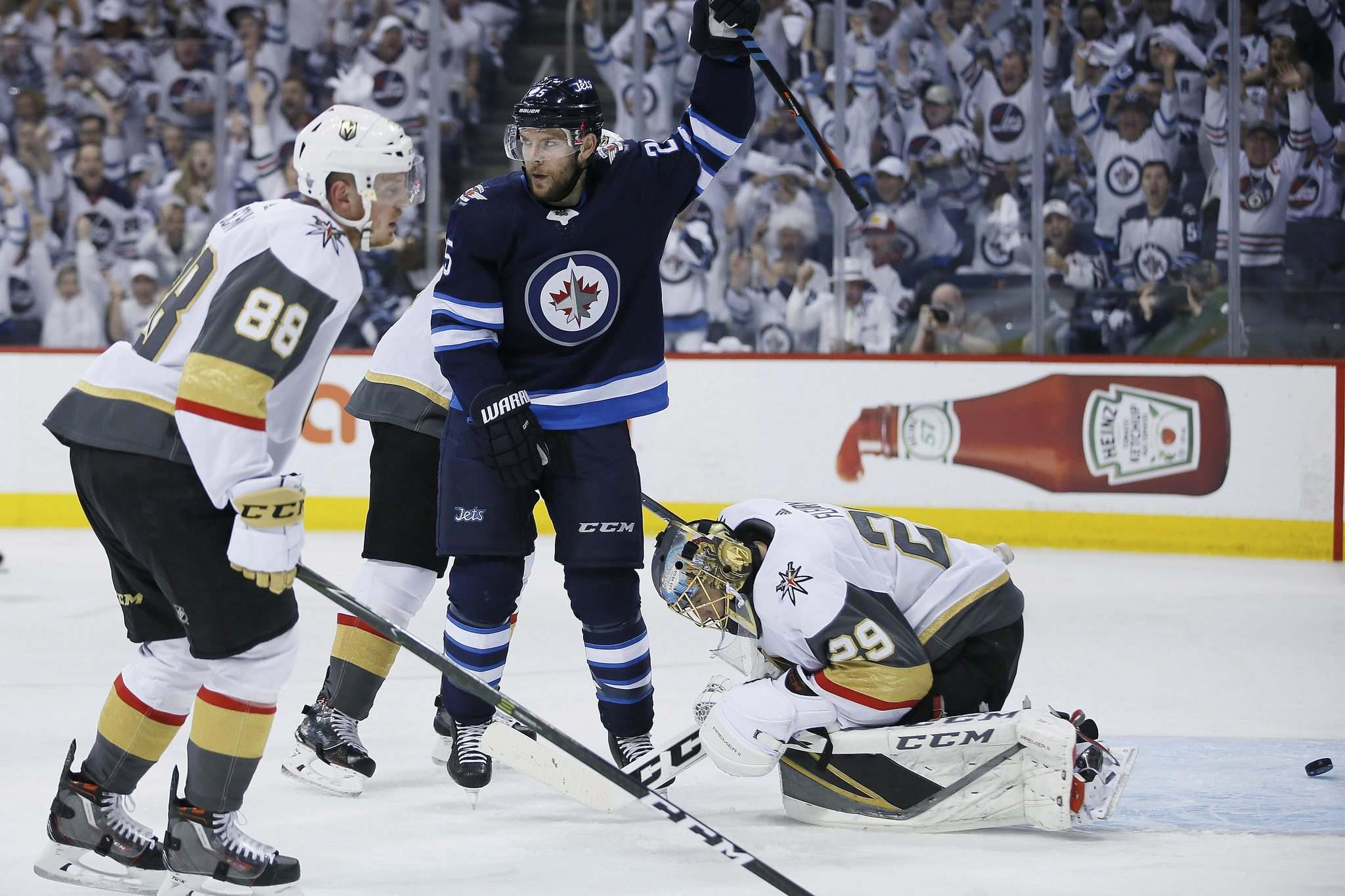 JOHN WOODS / THE CANADIAN PRESS</p><p>Jets forward Paul Stastny celebrates Mark Scheifele&rsquo;s goal on Vegas Golden Knights goalie Marc-Andr&#233; Fleury in NHL Western Conference Final action on Saturday night.</p>
