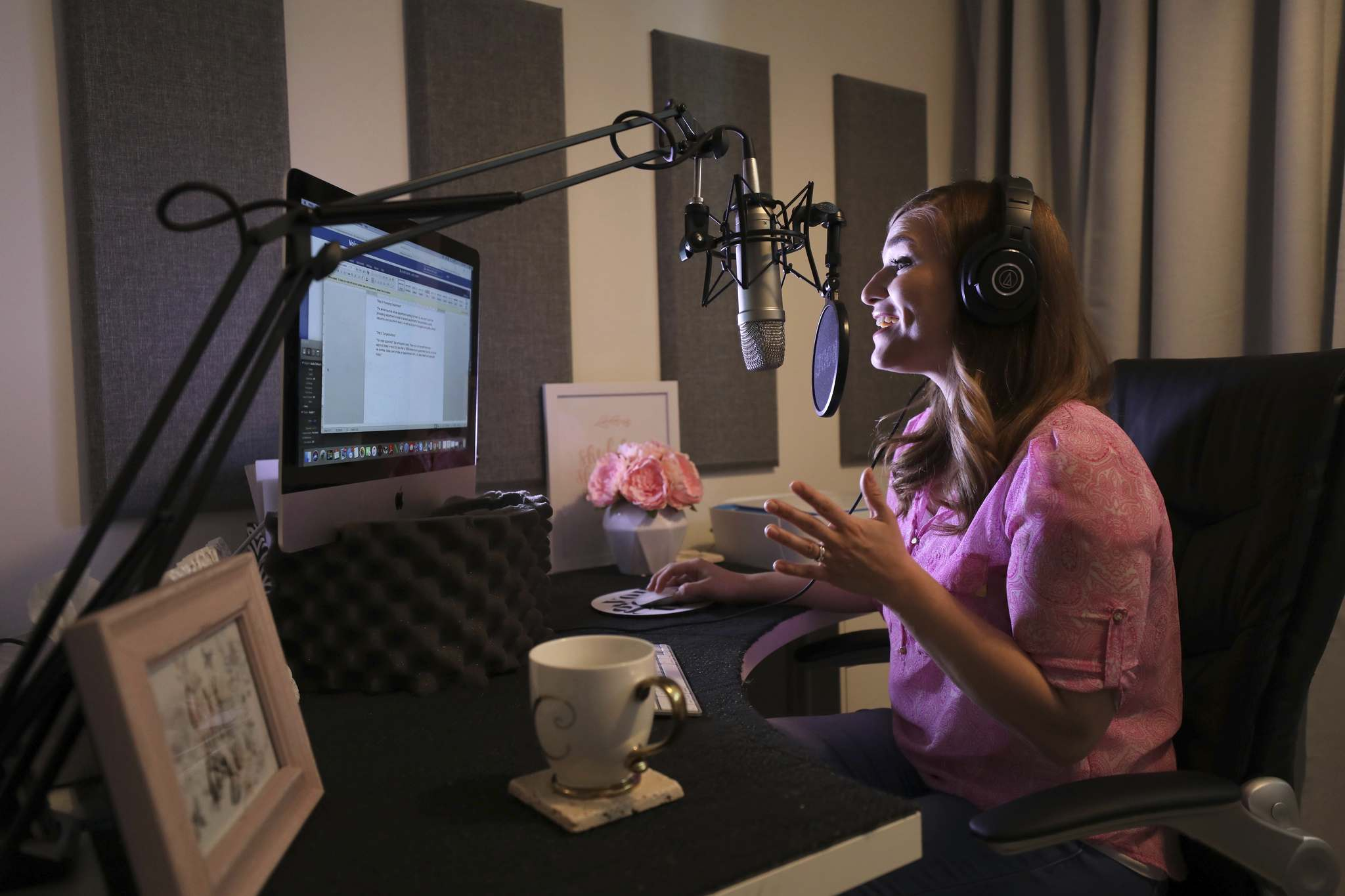 RUTH BONNEVILLE / WINNIPEG FREE PRESS</p><p>Voice actor Christy Fabbri working in her basement studio for her company, She Speaks.</p>