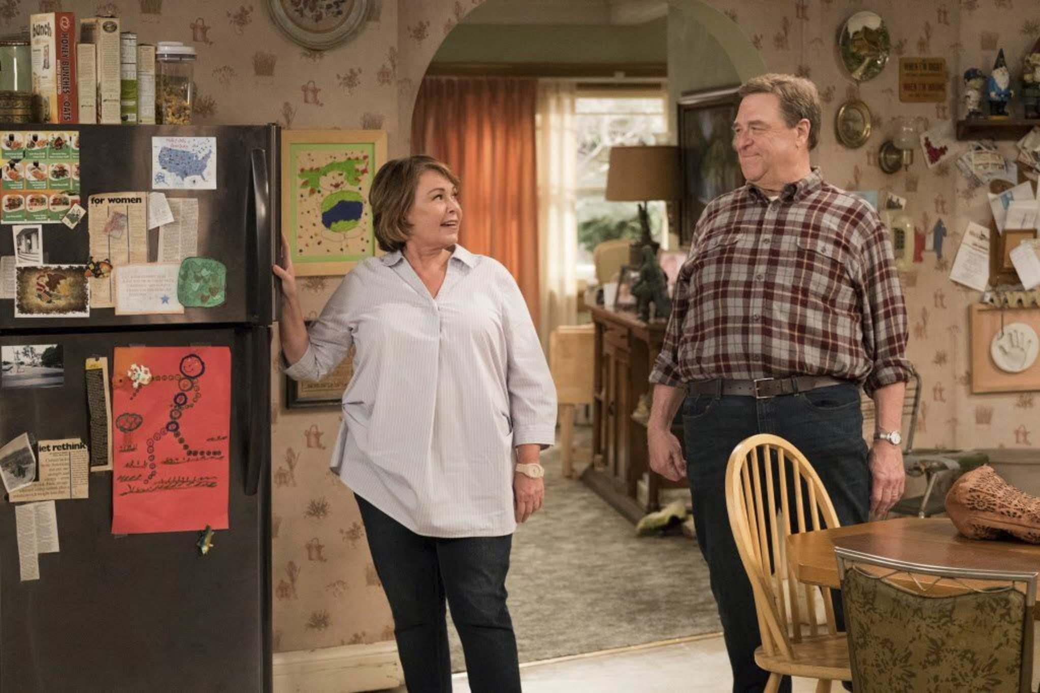 Adam Rose / ABC</p><p>Roseanne Barr (left) and John Goodman in a scene from the revived comedy series Roseanne, which tackles tricky territory this season..</p></p>