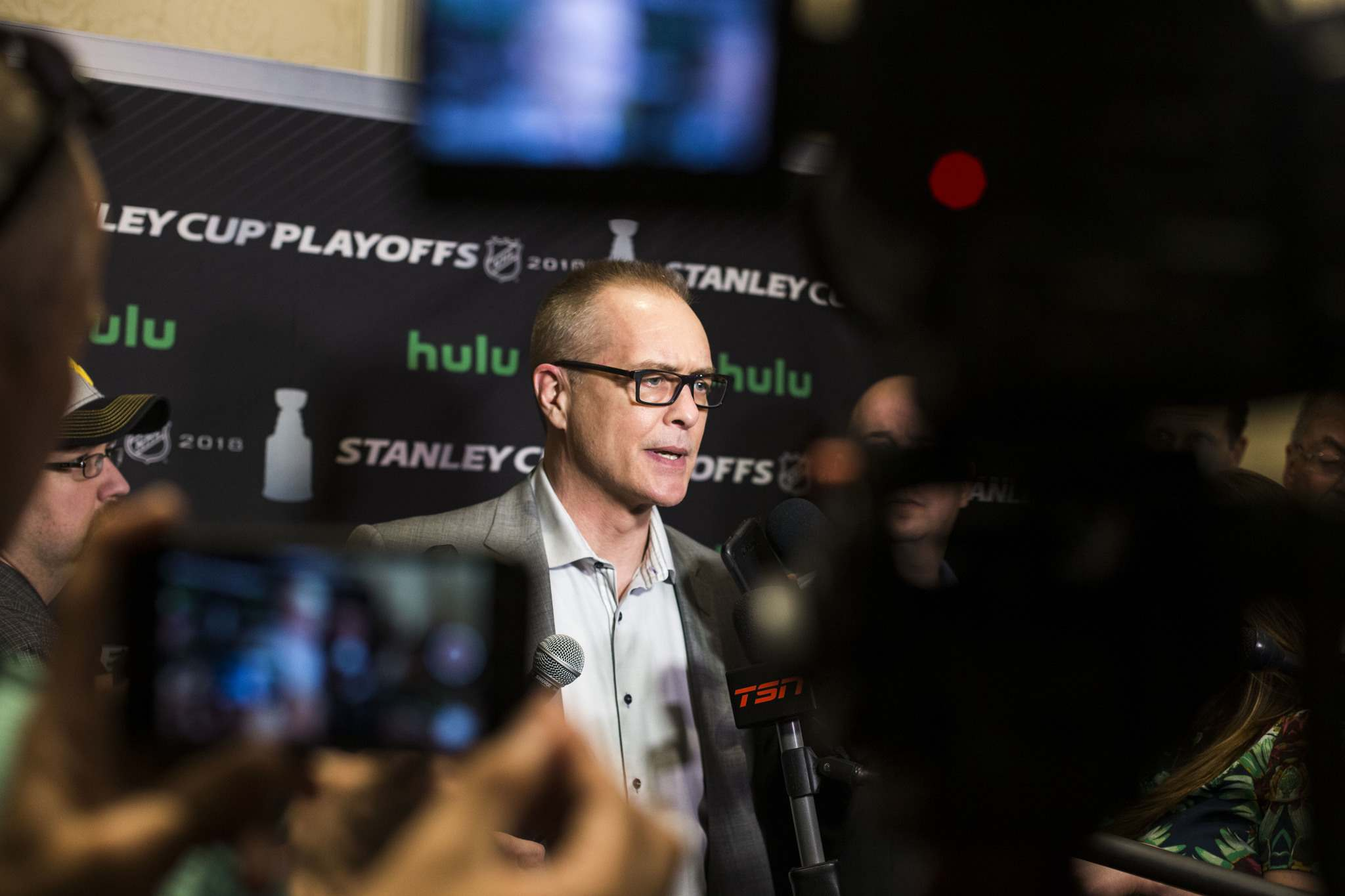 MIKAELA MACKENZIE / WINNIPEG FREE PRESS</p><p>Jets coach Paul Maurice talks to the media in Las Vegas Tuesday. The Jets and Golden Knights face off Wednesday evening in Game 3 of the Western Conference finals.</p>