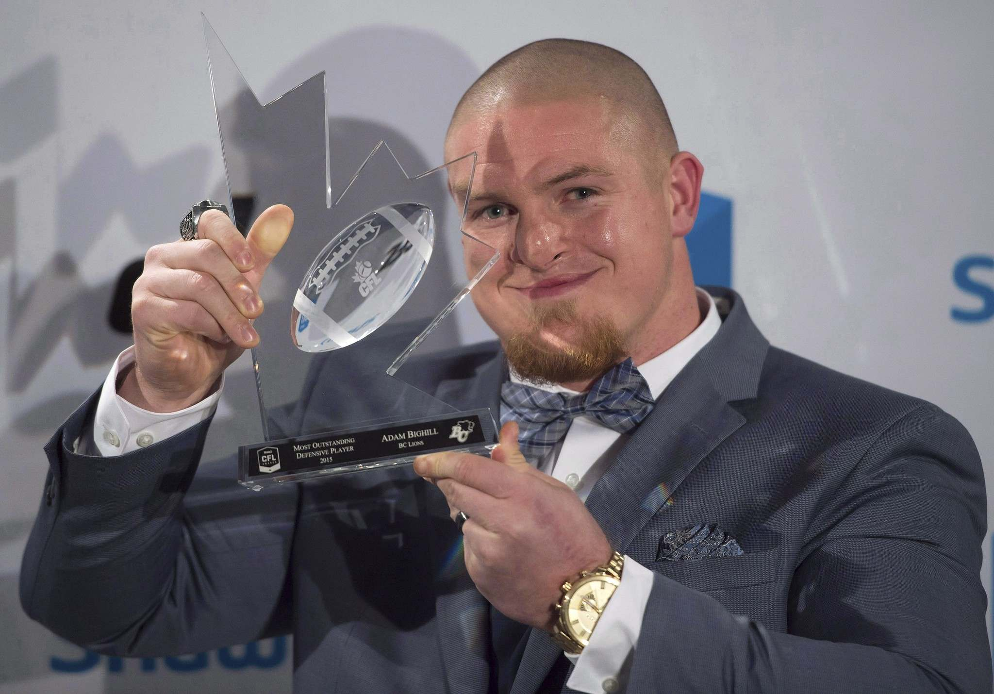 Jonathan Hayward / The Canadian Press FILES</p><p>Linebacker Adam Bighill was the CFL's most outstanding defensive player in 2015.</p>