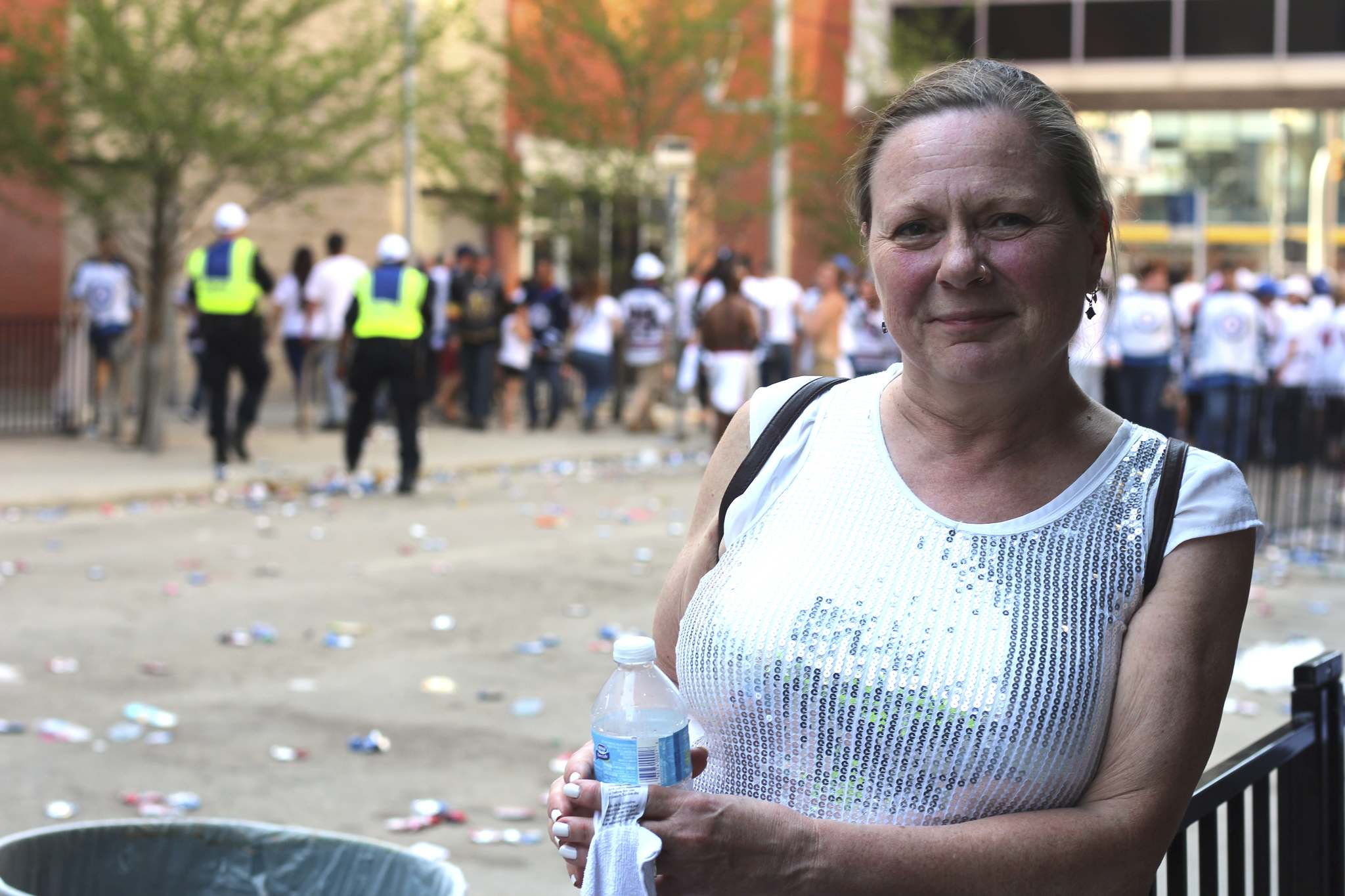 JESSICA BOTELHO-URBANSKI / WINNIPEG FREE PRESS</p><p>Judith Gaminek held back tears at the downtown street party after the Jets lost to the Golden Knights, ending their Stanley Cup dreams for 2018. </p>