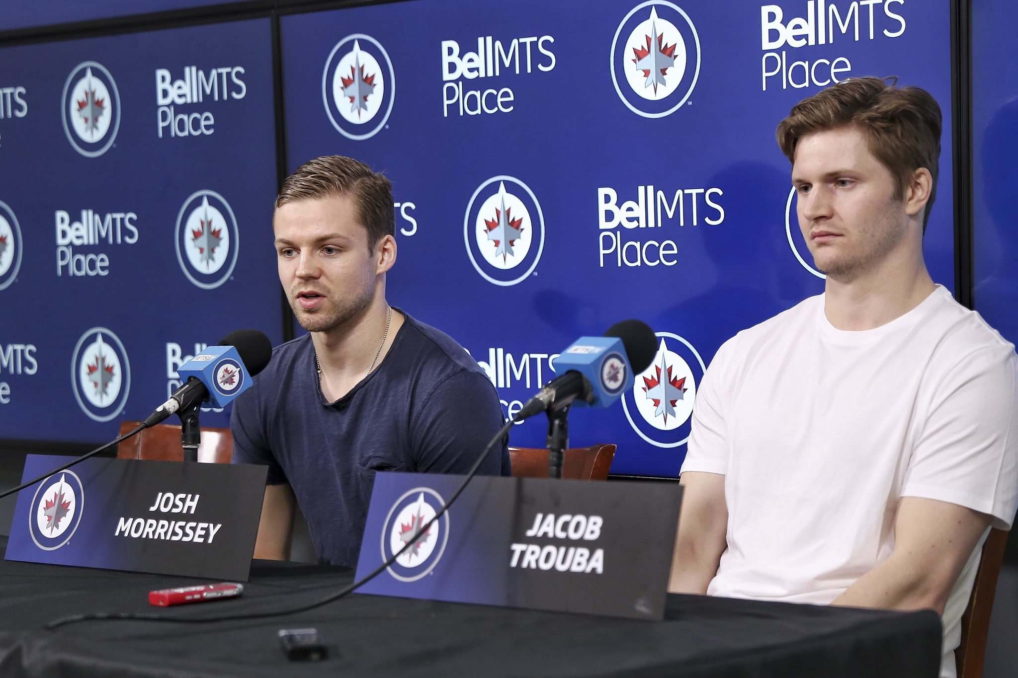 """I haven't put a whole ton of thought into it. The season just ended,"" said Jacob Trouba (right, with Josh Morrissey). ""But I'm sure in the next week or two, or couple of days, I'll meet with my agent and we'll go over stuff and see where it goes from there and talk to (Winnipeg GM Kevin Cheveldayoff).""</p>"