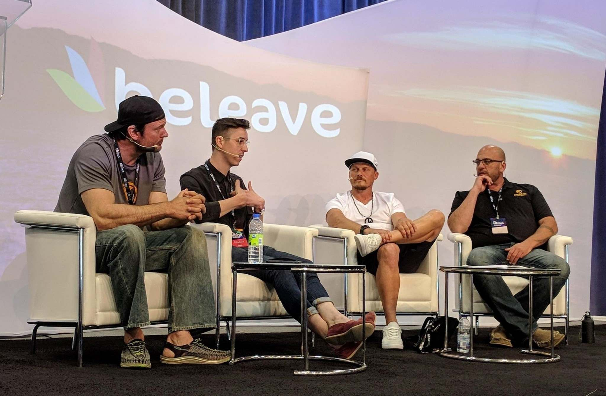 Professional arm-wrestler Devon Larratt (left) joined former competitive cyclist Philippe D&#233;pault (second from right) and Ross Rebagliati for a panel discussion on &#39;Cannabis in Sport&#39; during the Lift &amp; Co. cannabis expo in Toronto. (Solomon Israel/The Leaf News)</p>