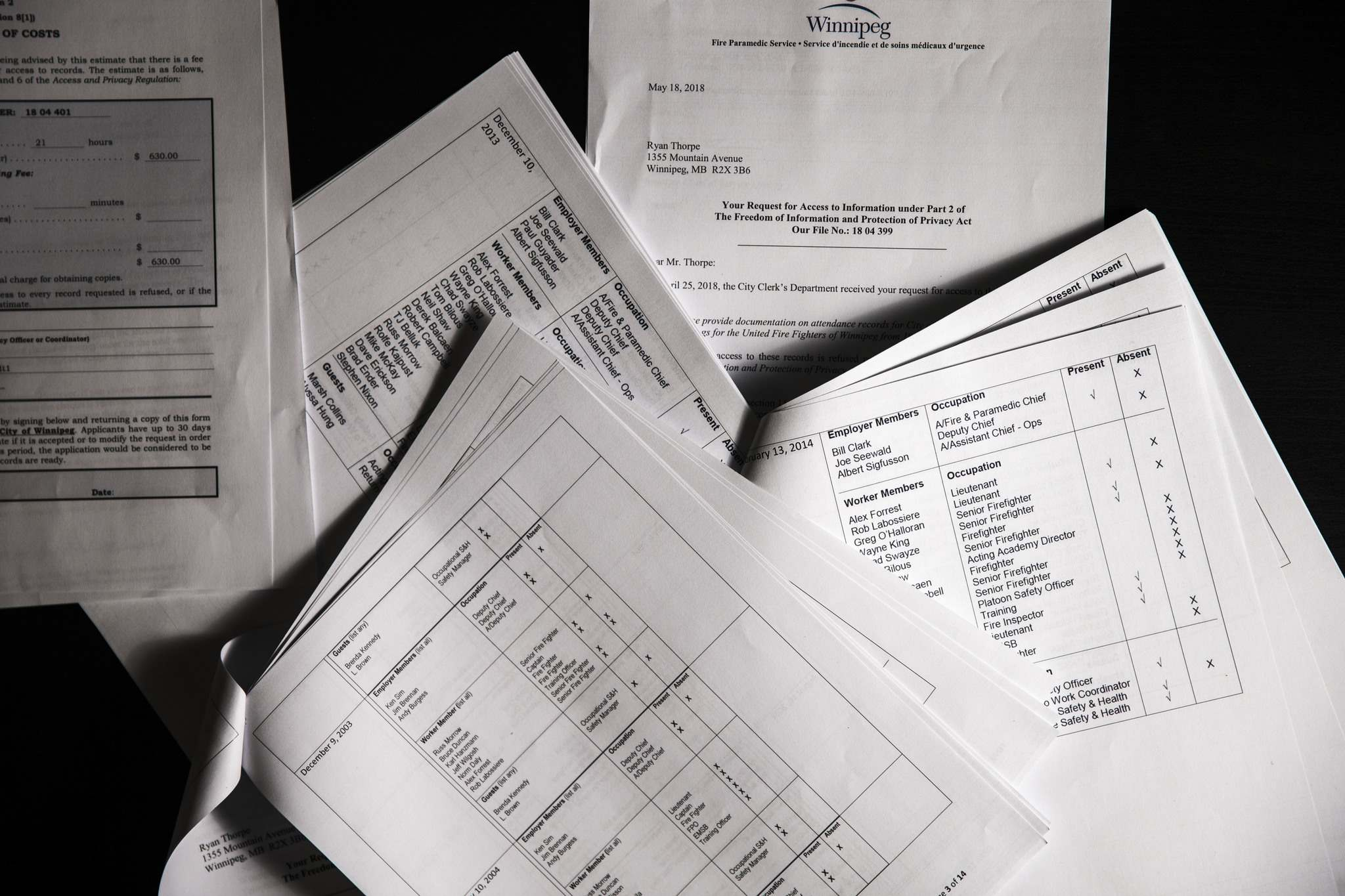 <p>Documents obtained through freedom of information documenting Firefighters Union president Alex Forrest&#39;s attendance on various City of Winnipeg committees.</p>