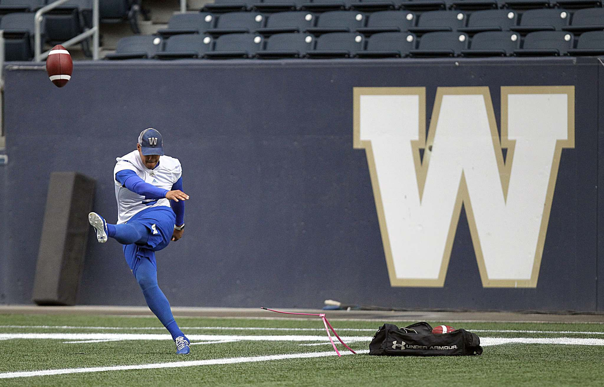 PHIL HOSSACK / WINNIPEG FREE PRESS</p><p>Kicker Justin Medlock at Winnipeg Blue Bomber training camp.</p>