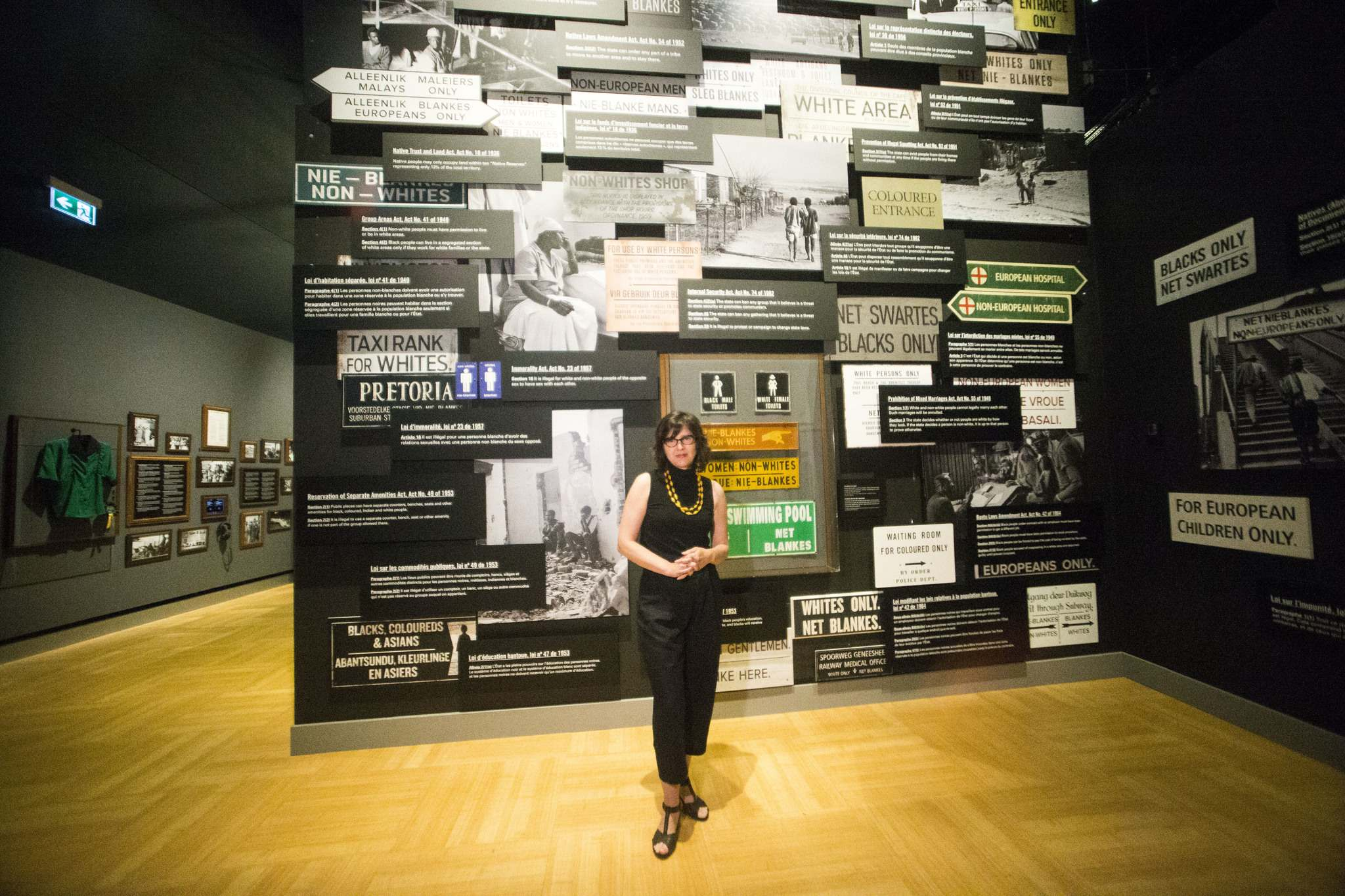 MIKAELA MACKENZIE / WINNIPEG FREE PRESS</p><p>Curator Isabelle Masson poses in the new Mandela: Struggle for Freedom exhibit at the Canadian Museum for Human Rights.</p>