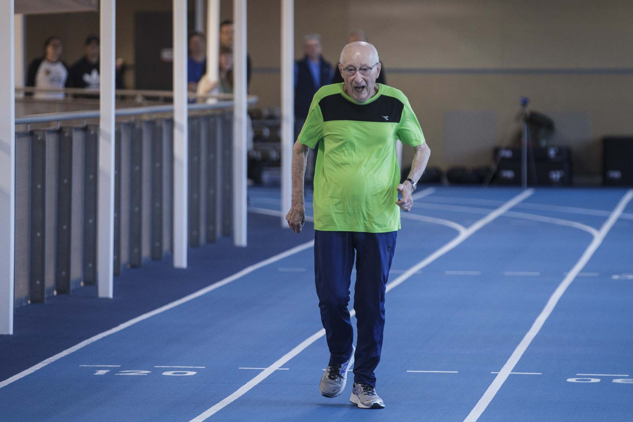 MIKE DEAL / WINNIPEG FREE PRESS</p><p>Lou Billinkoff runs the 50 meter dash in 14.45 seconds on his 95th birthday at the Canada Games Sport for Life Centre while training for a 100m sprint at the end of June.</p>