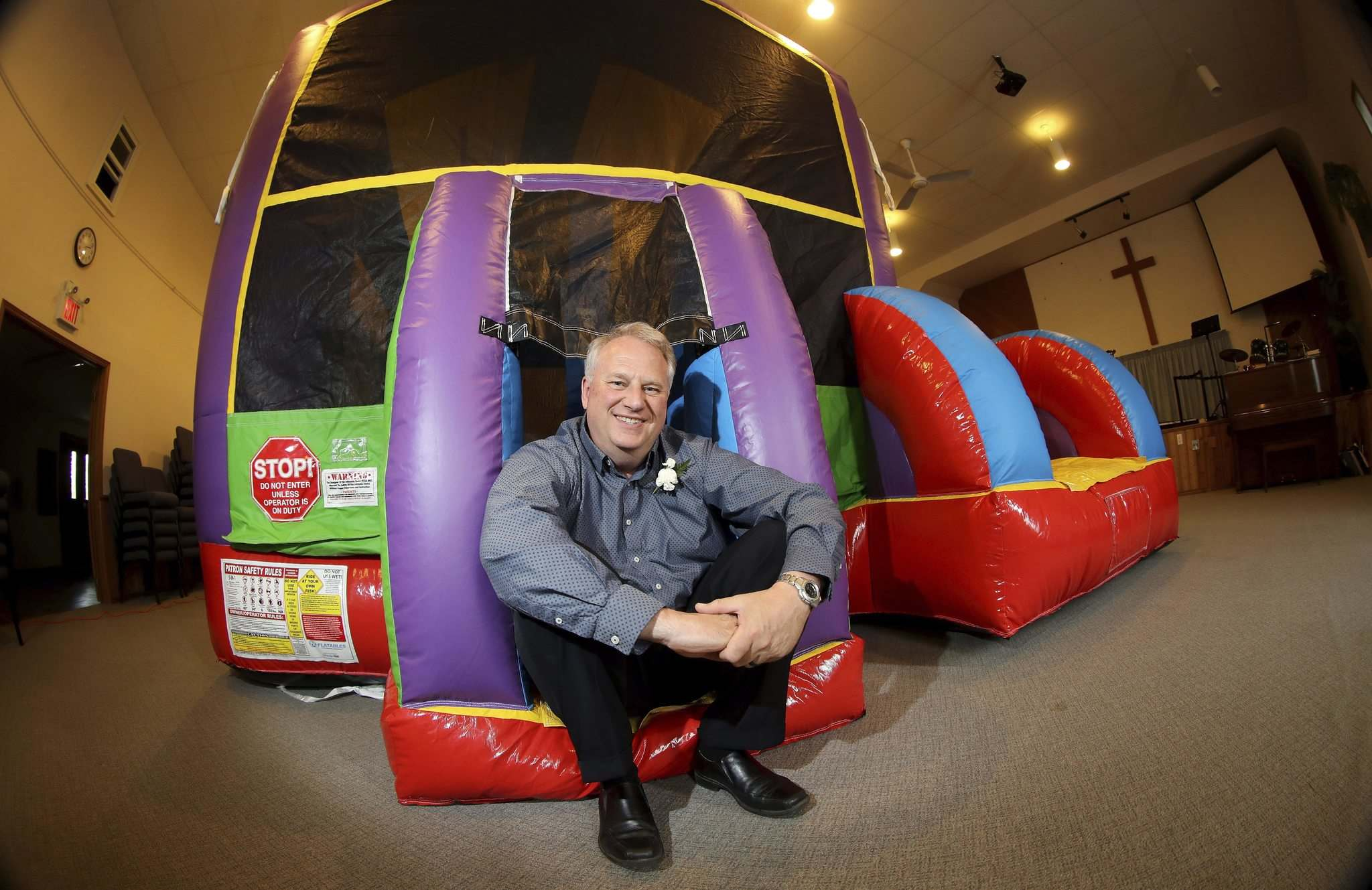 TREVOR HAGAN / WINNIPEG FREE PRESS</p><p>Pastor Rod Giesbrecht of Tabor Baptist Church spends much of his weekends setting up and taking down inflatables for various events.</p></p>
